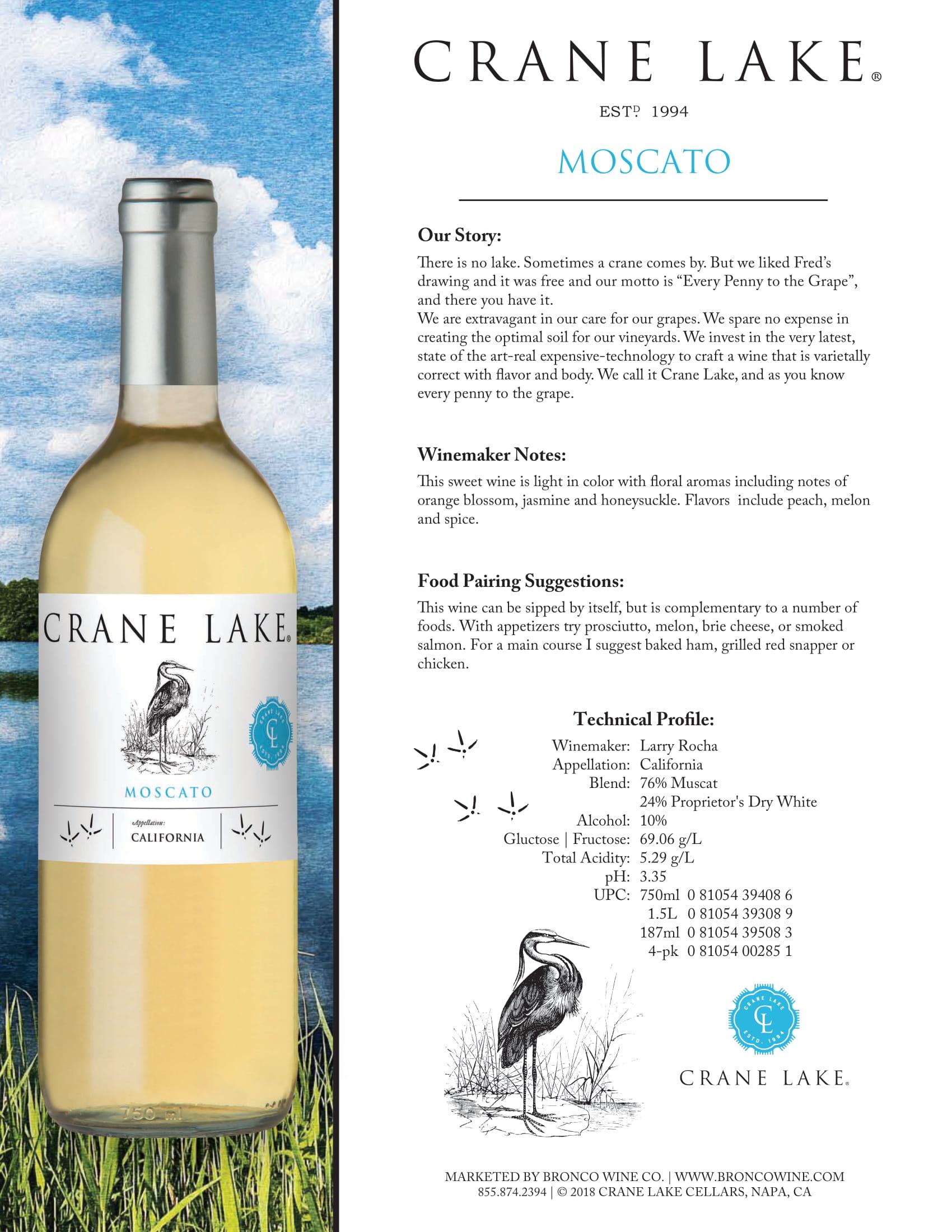 Crane Lake Moscato Tech Sheet