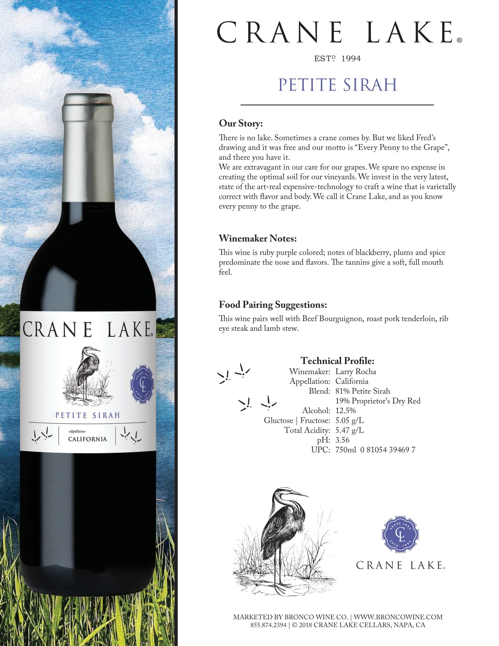Crane Lake Petite Sirah Tech Sheet