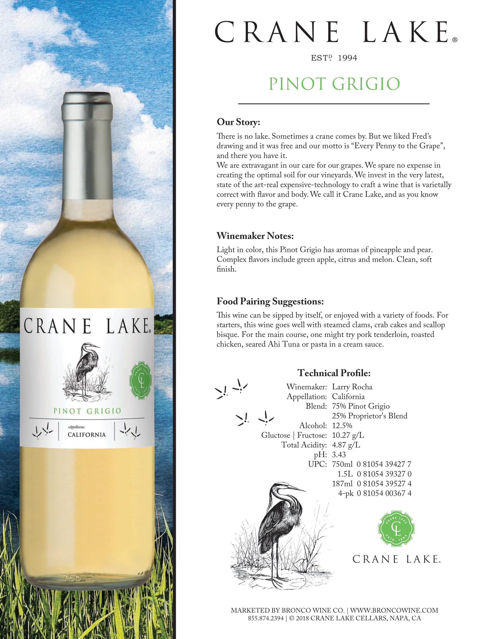 Crane Lake Pinot Grigio Tech Sheet