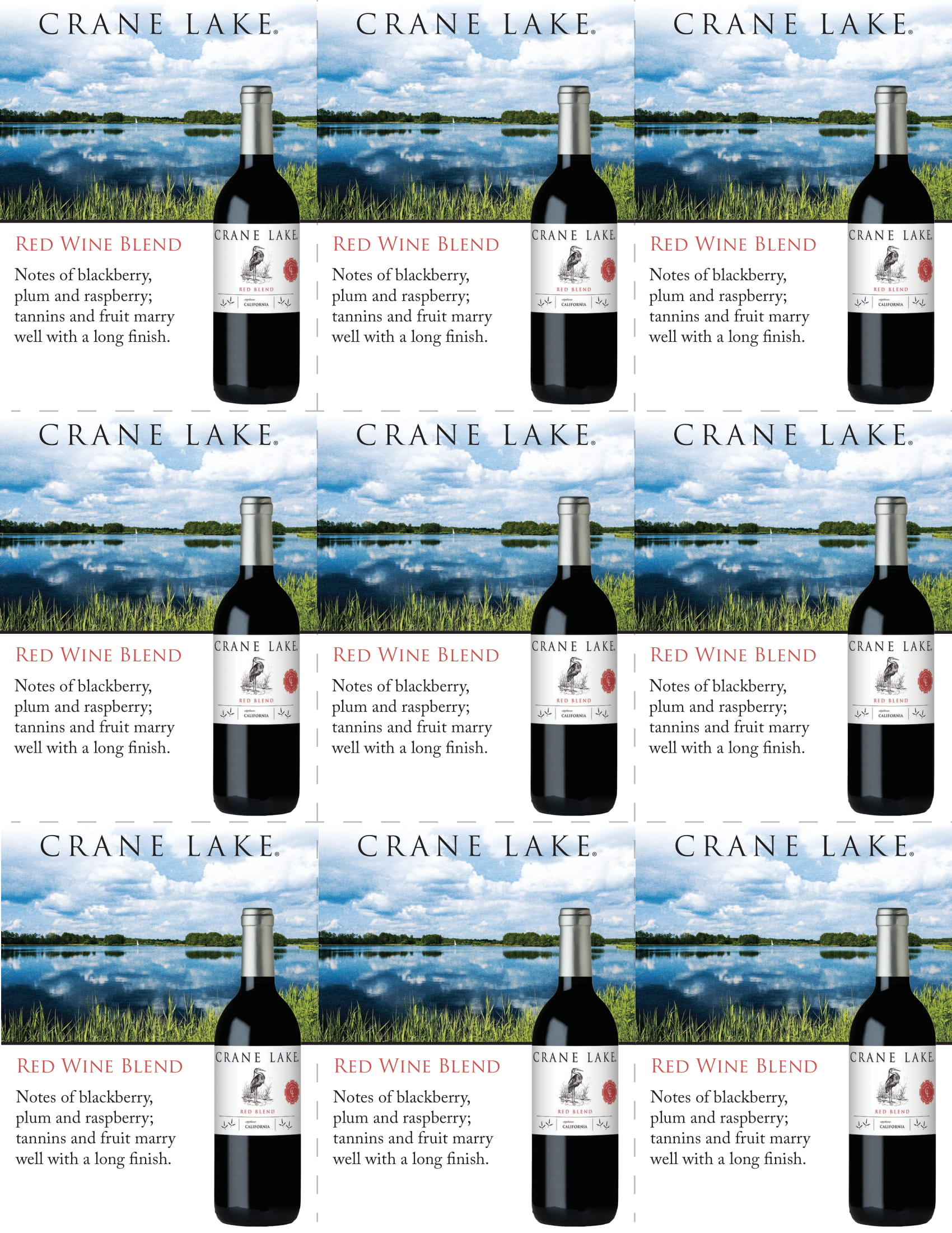 Crane Lake Red Blend Shelf Talkers