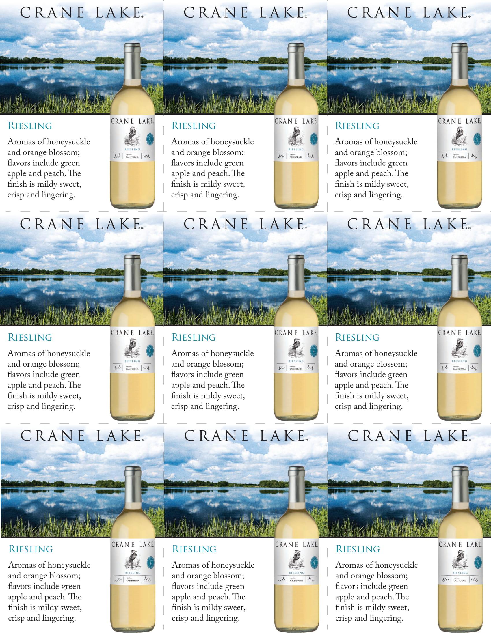 Crane Lake Riesling Shelf Talkers