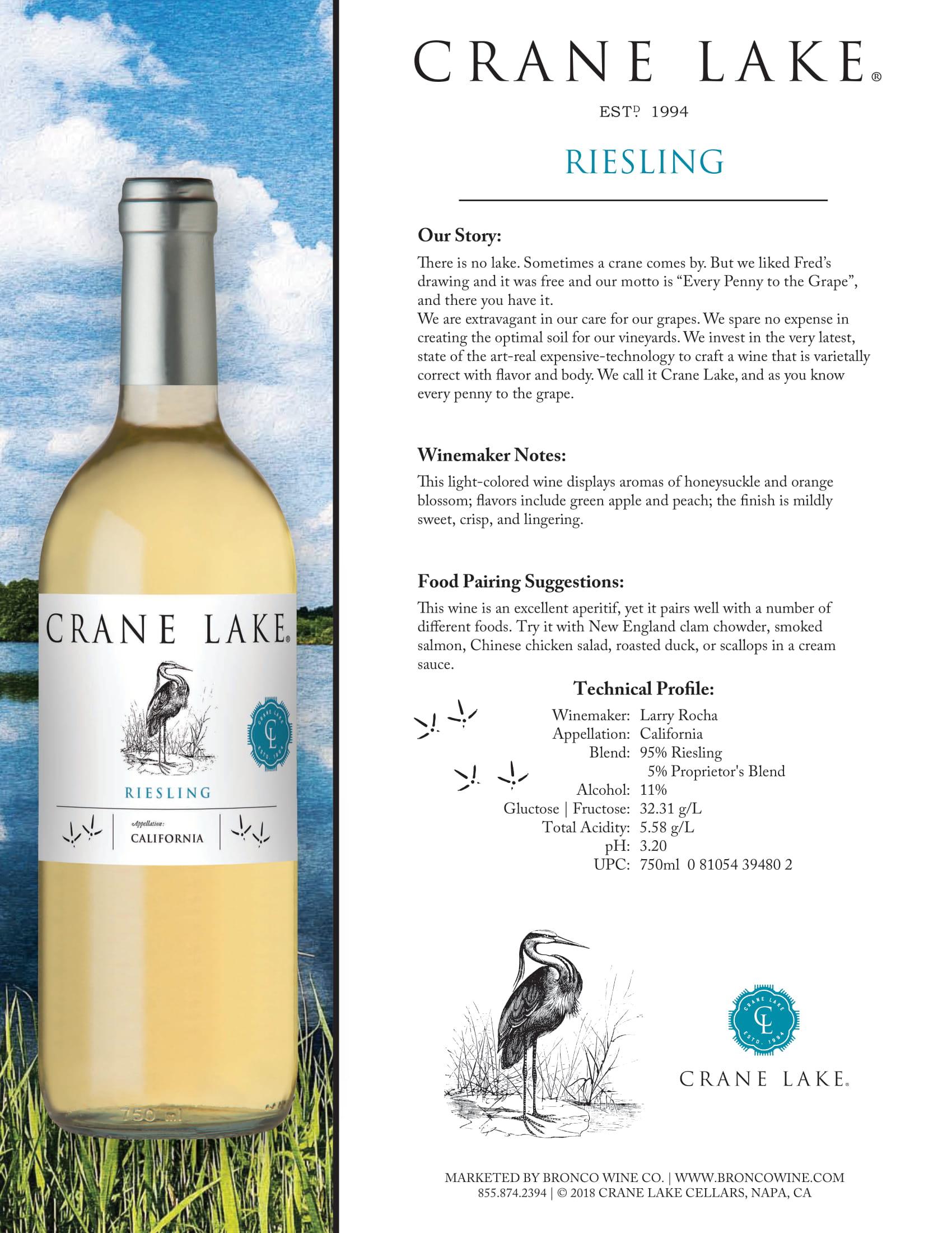 Crane Lake Riesling Tech Sheet