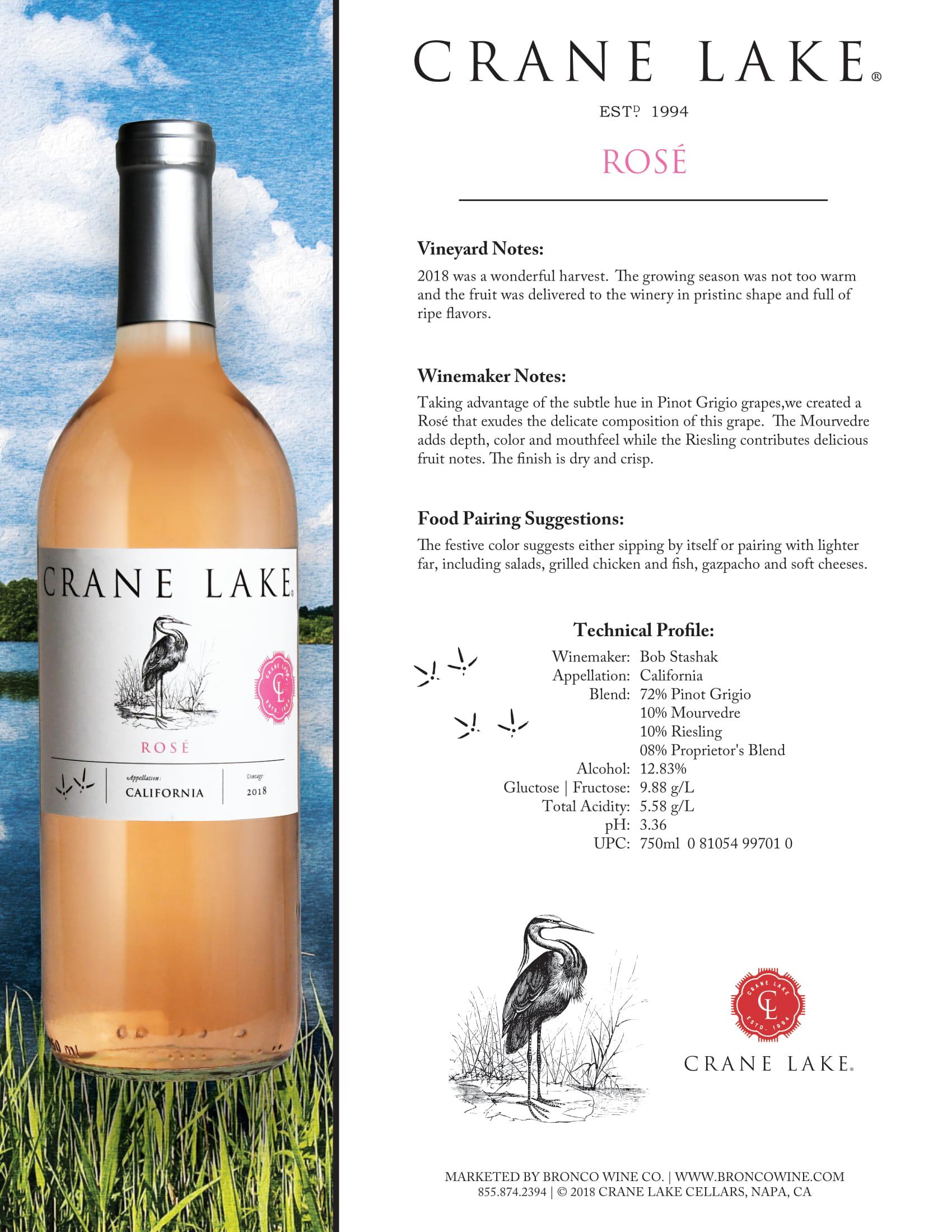 Crane Lake Rosé Tech Sheet