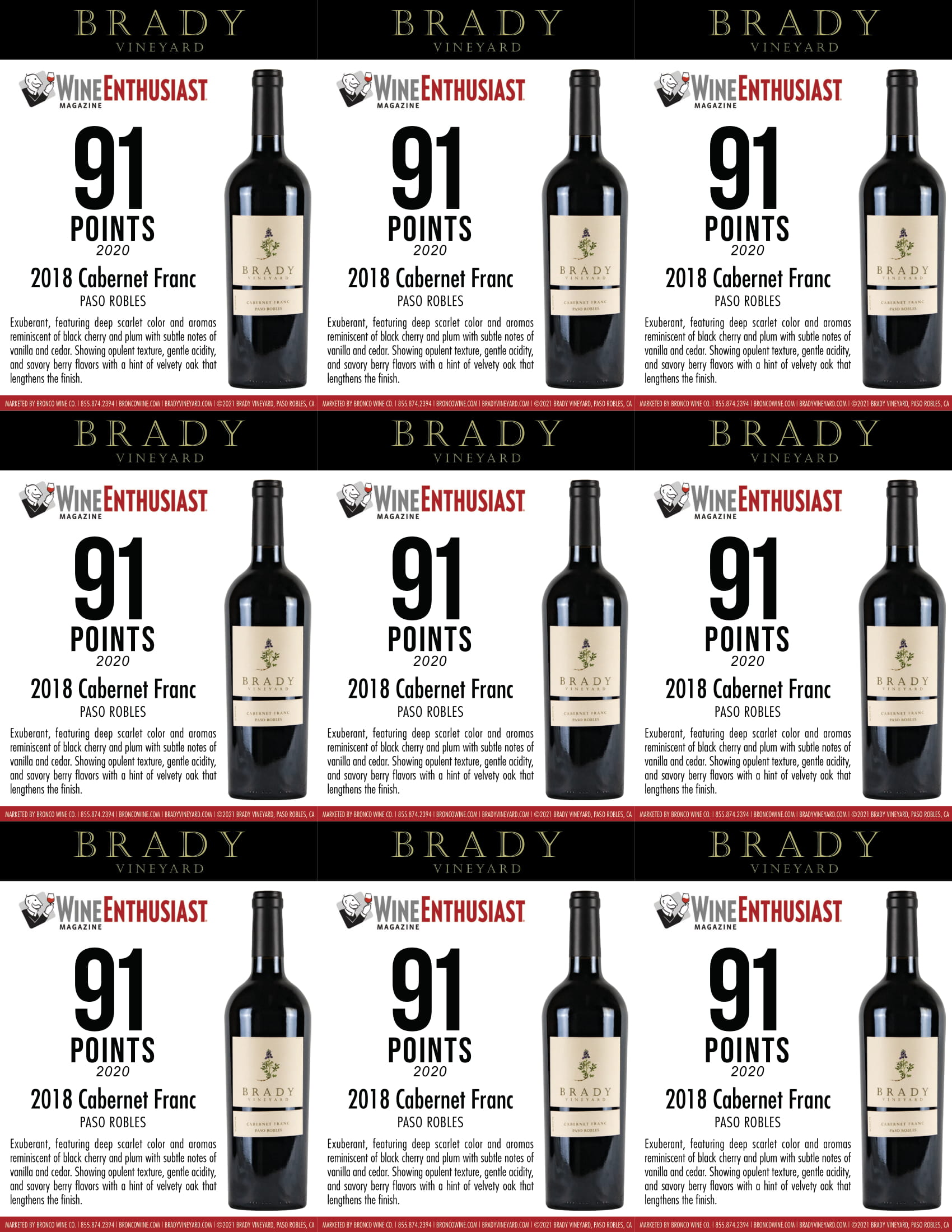 Brady Vineyards Cabernet Franc Shelf Talkers