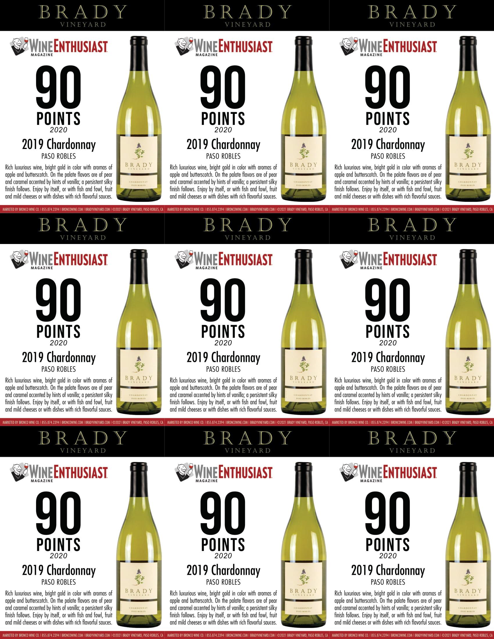 Brady Vineyards Chardonnay Shelf Talkers