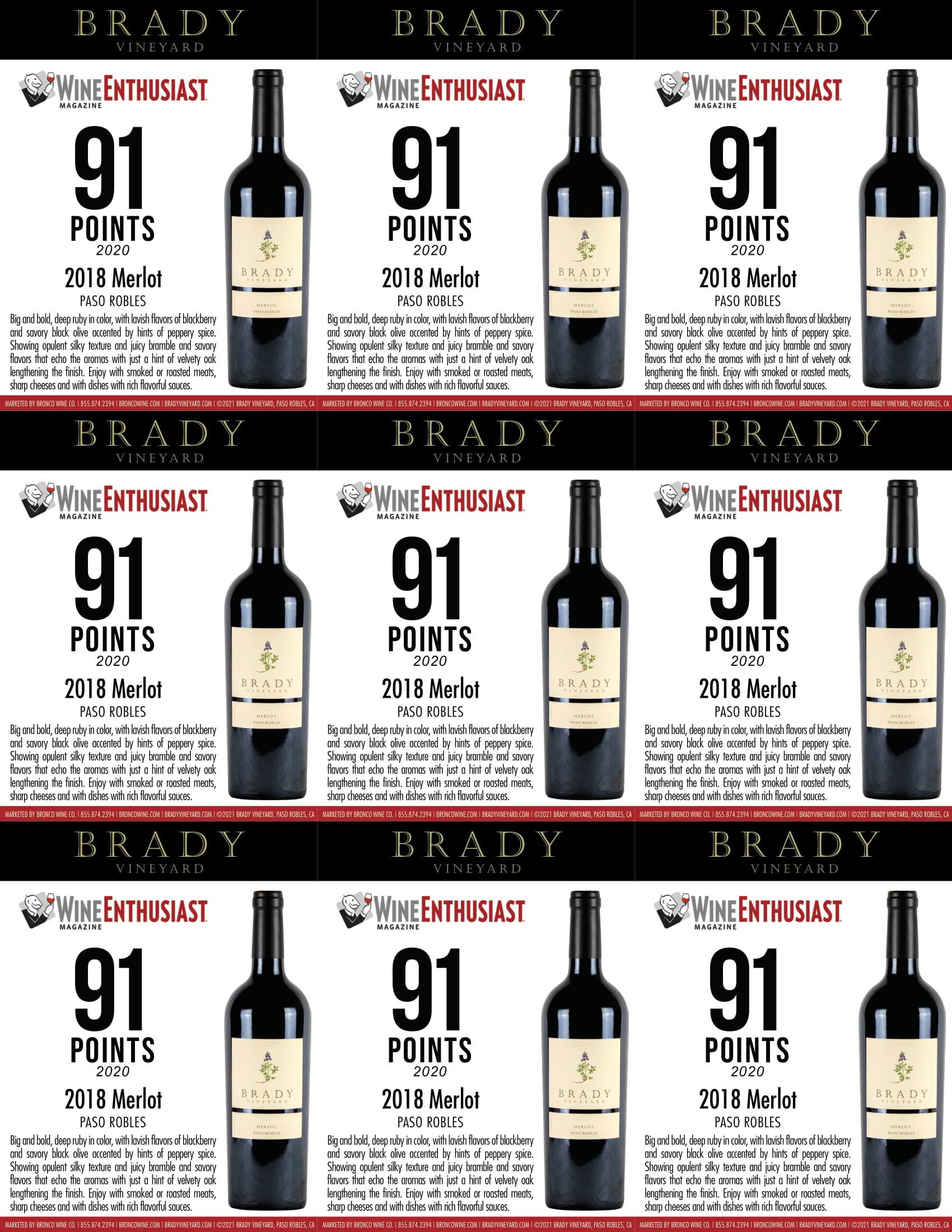 Brady Vineyards Merlot Shelf Talkers
