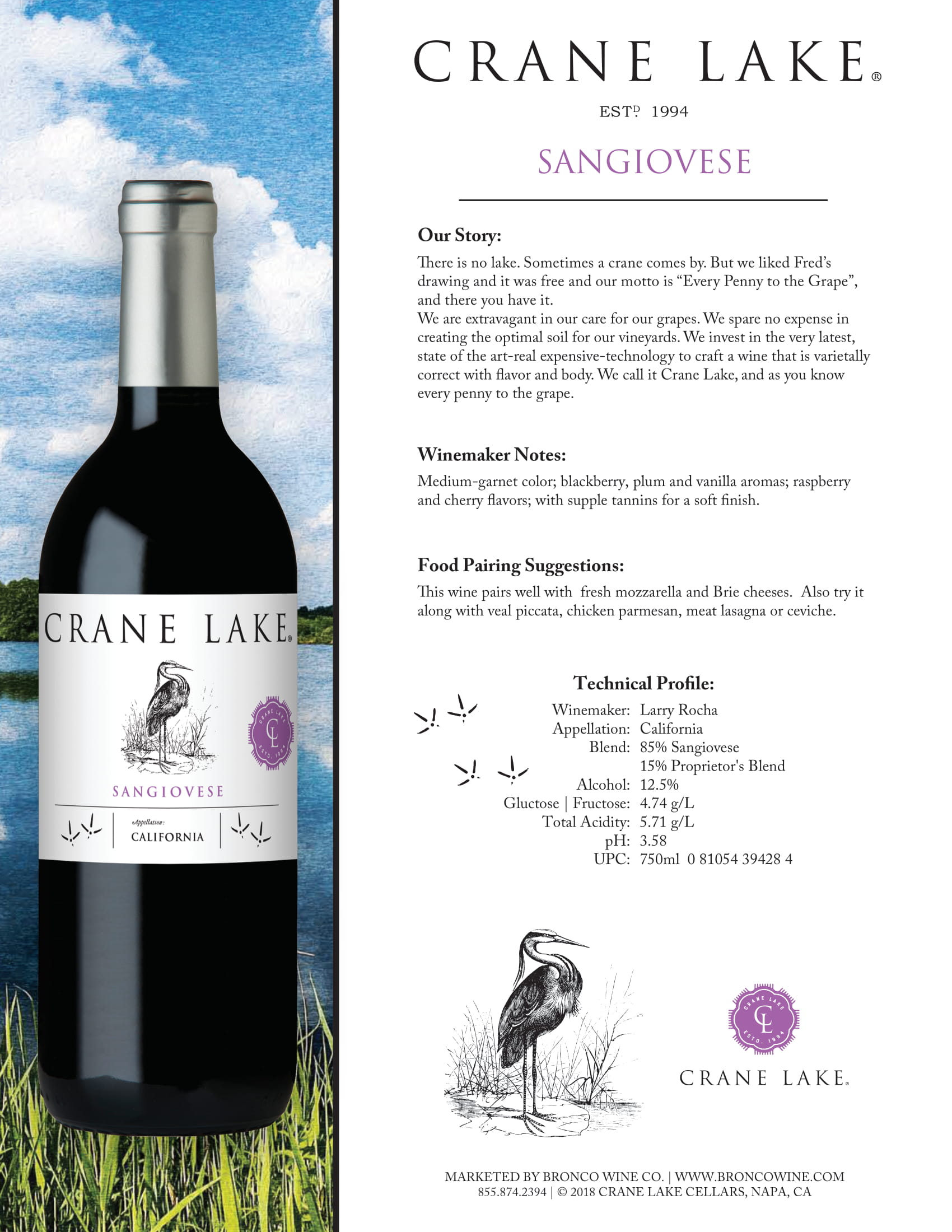 Crane Lake Sangiovese Tech Sheet