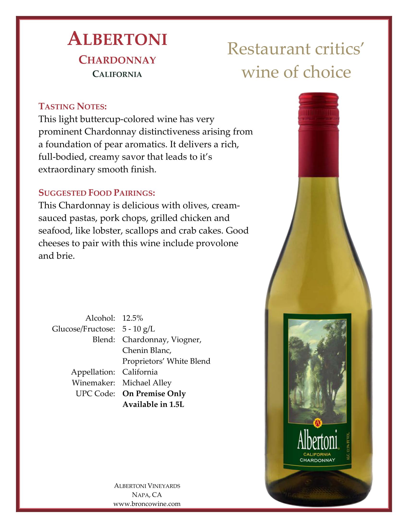 Albertoni Chardonnay Tech Sheet