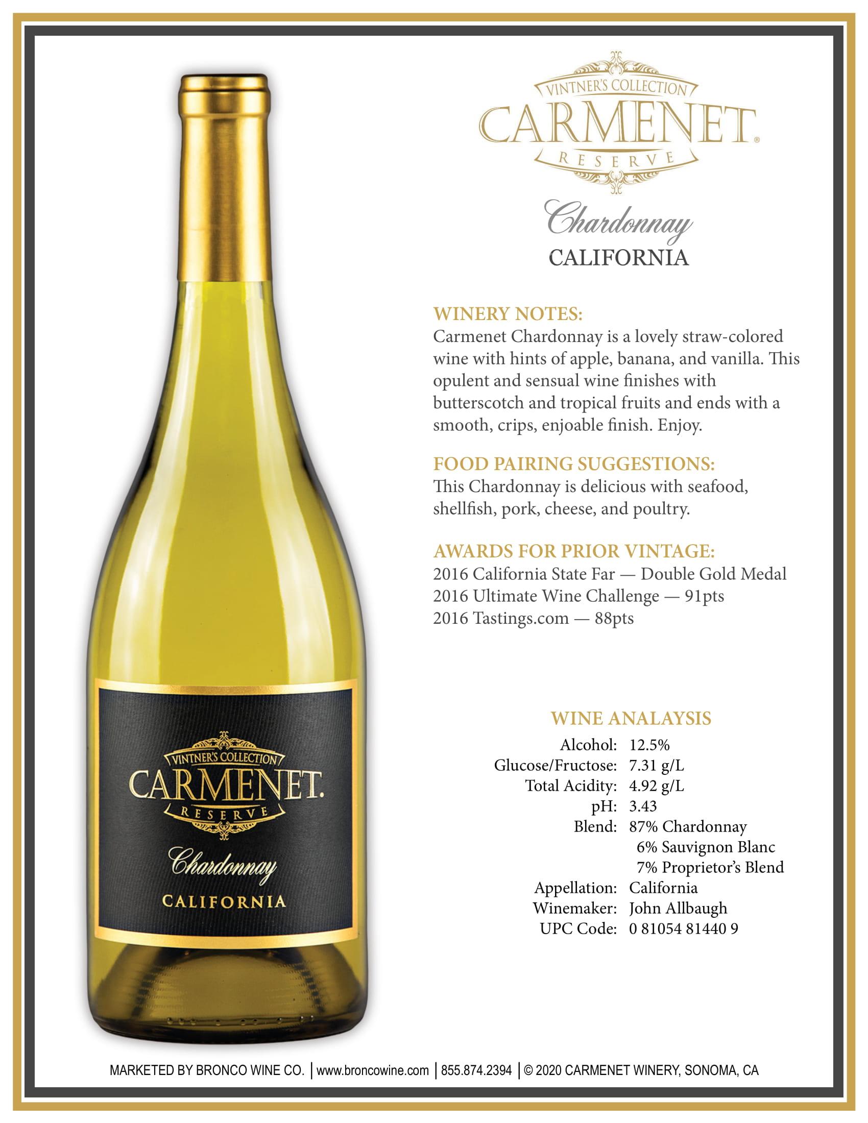Carmenet Chardonnay Sell Sheet