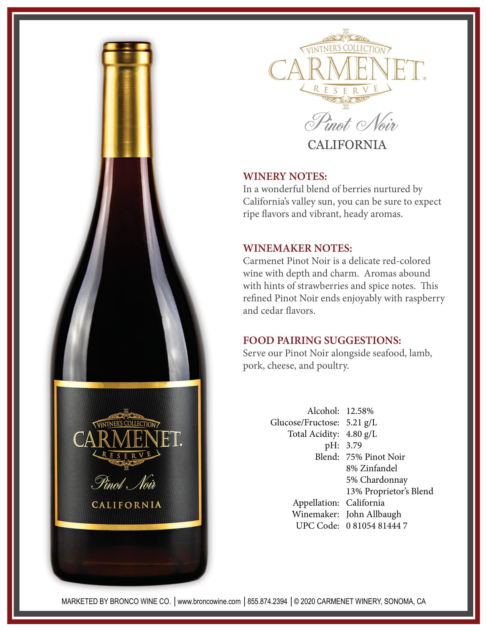 Carmenet Pinot Noir Sell Sheet