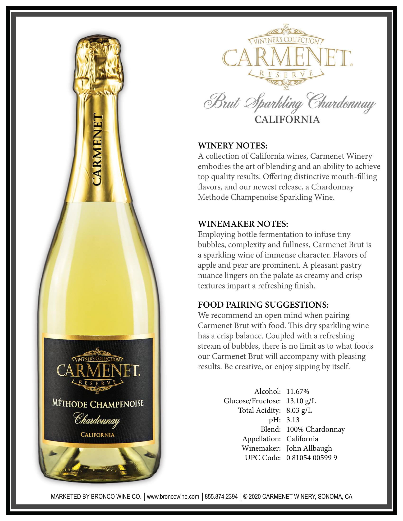 Carmenet Sparkling Chardonnay Sell Sheet