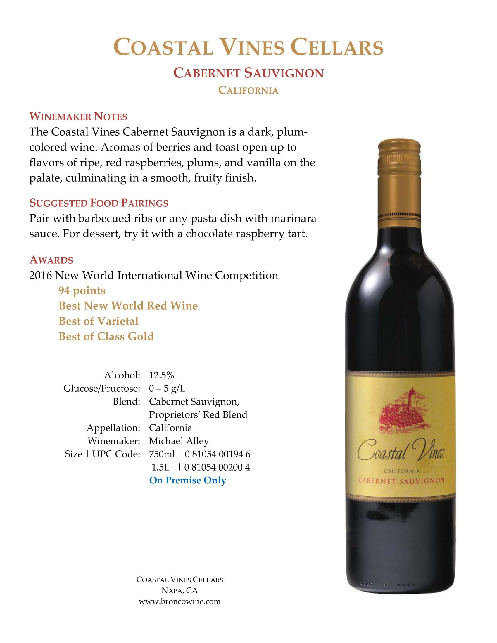 Coastal Vines Cabernet Sauvignon Sell Sheet