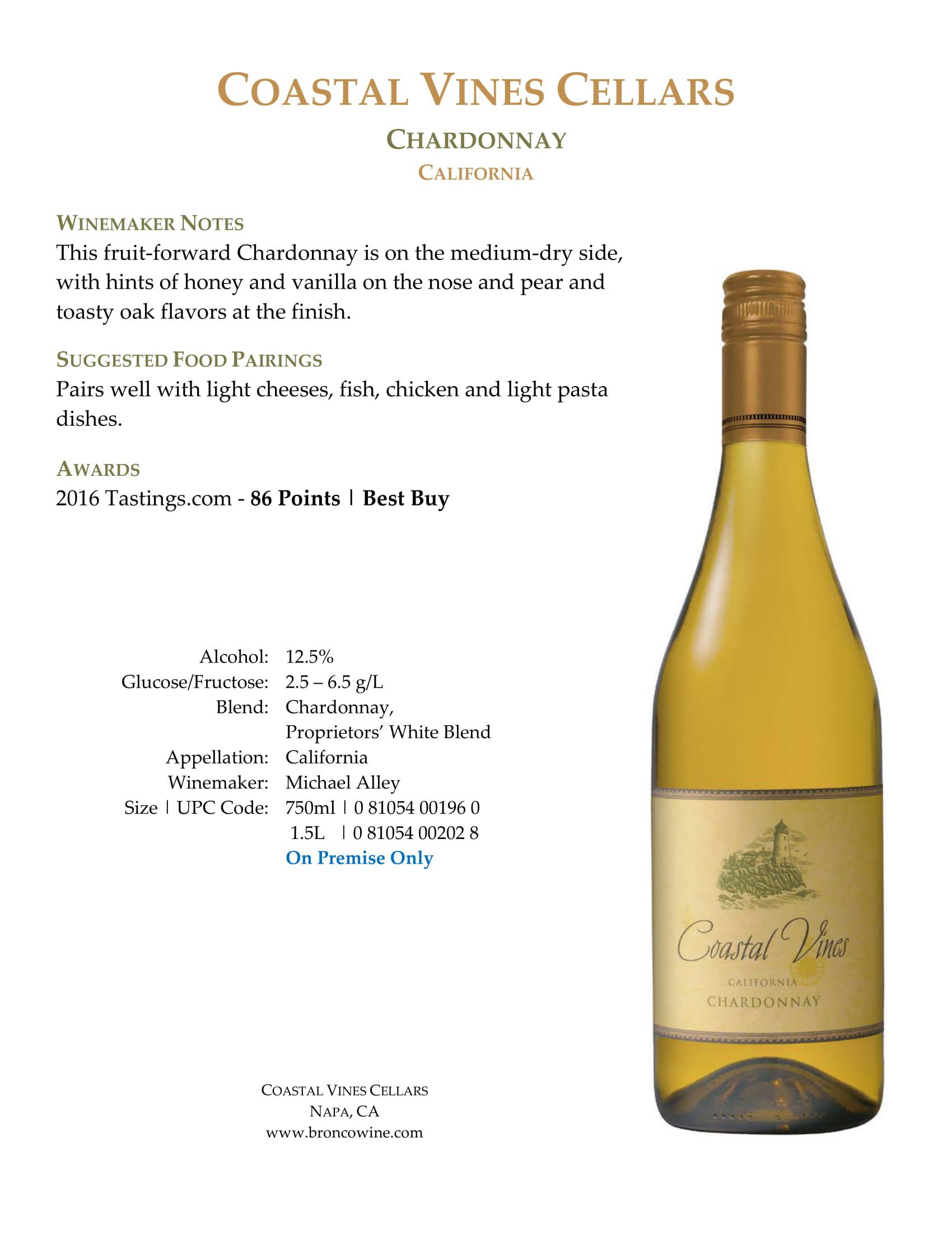 Coastal Vines Chardonnay Sell Sheet