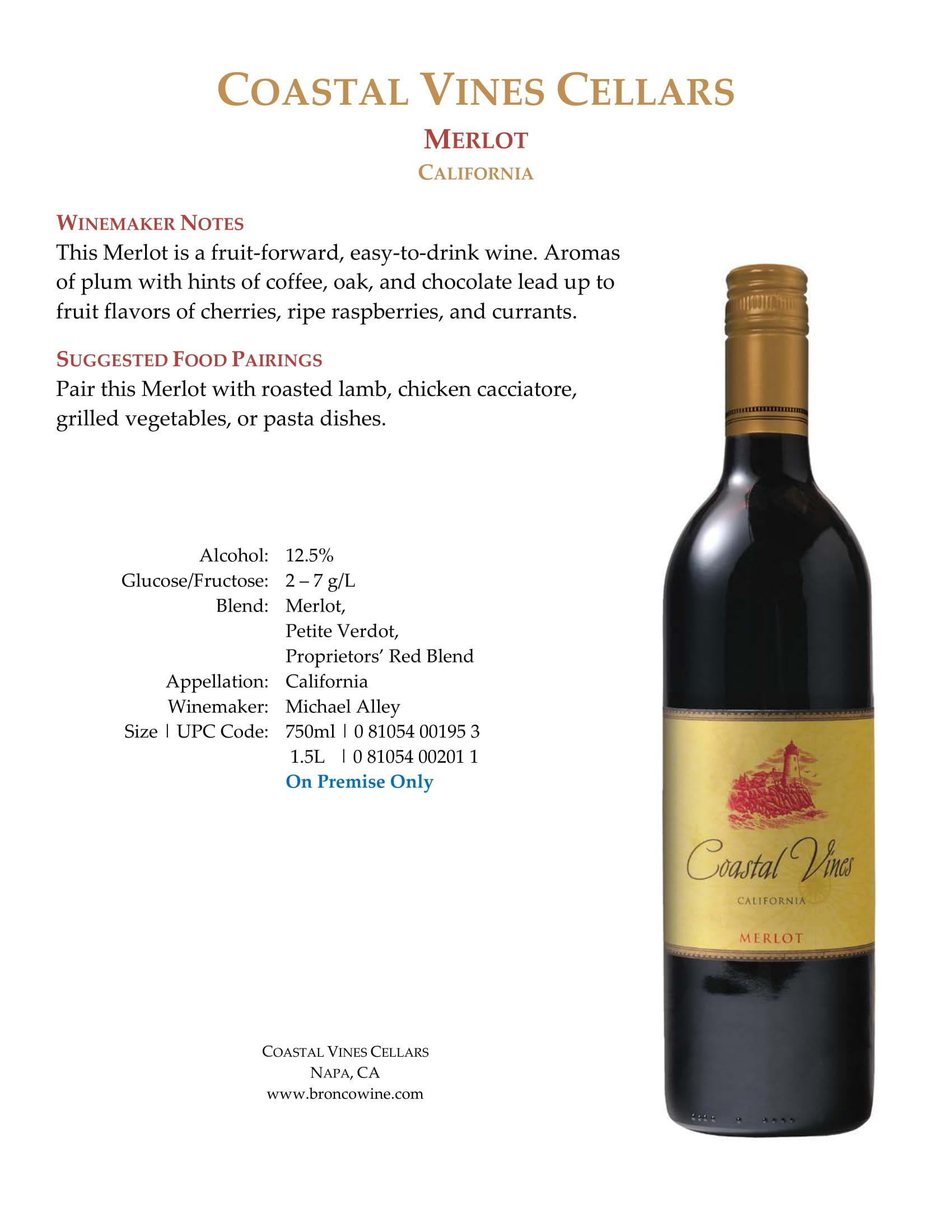 Coastal Vines Merlot Sell Sheet