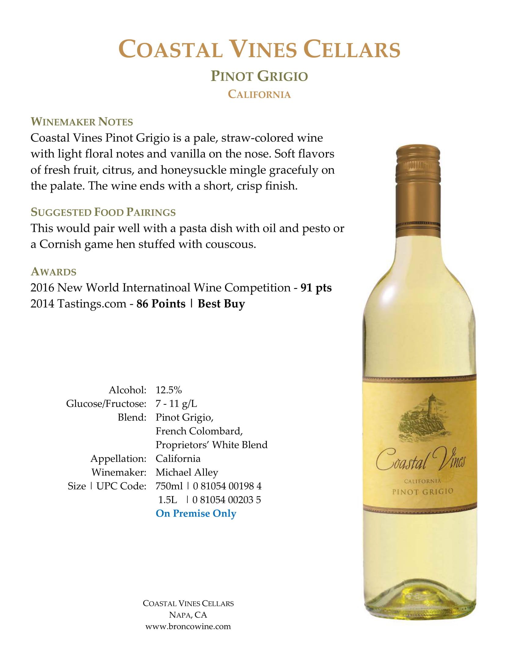 Coastal Vines Pinot Grigio Sell Sheet