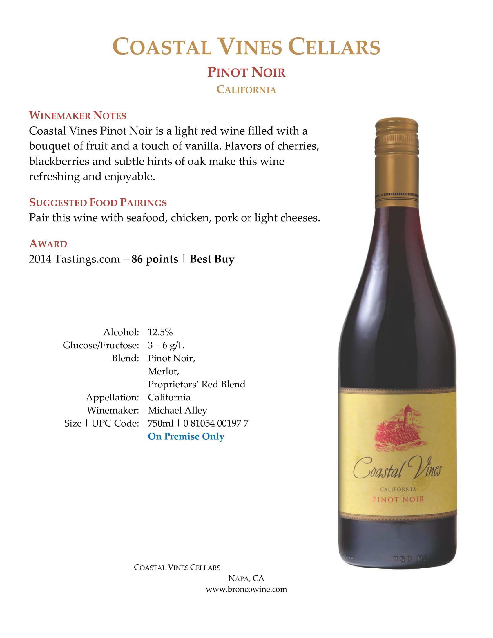Coastal Vines Pinot Noir Sell Sheet