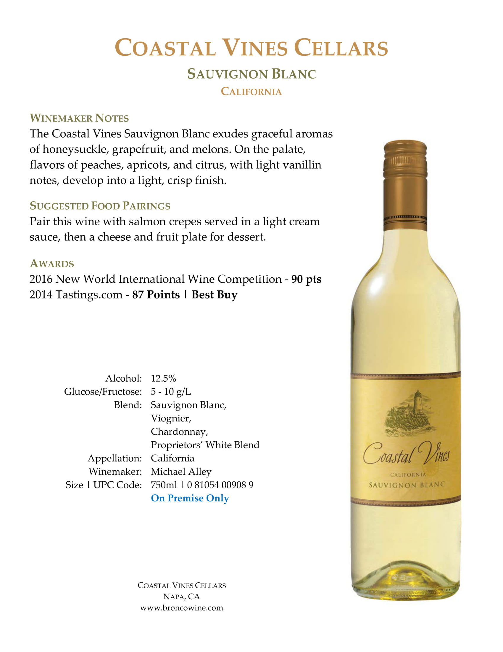 Coastal Vines Sauvignon Blanc Sell Sheet
