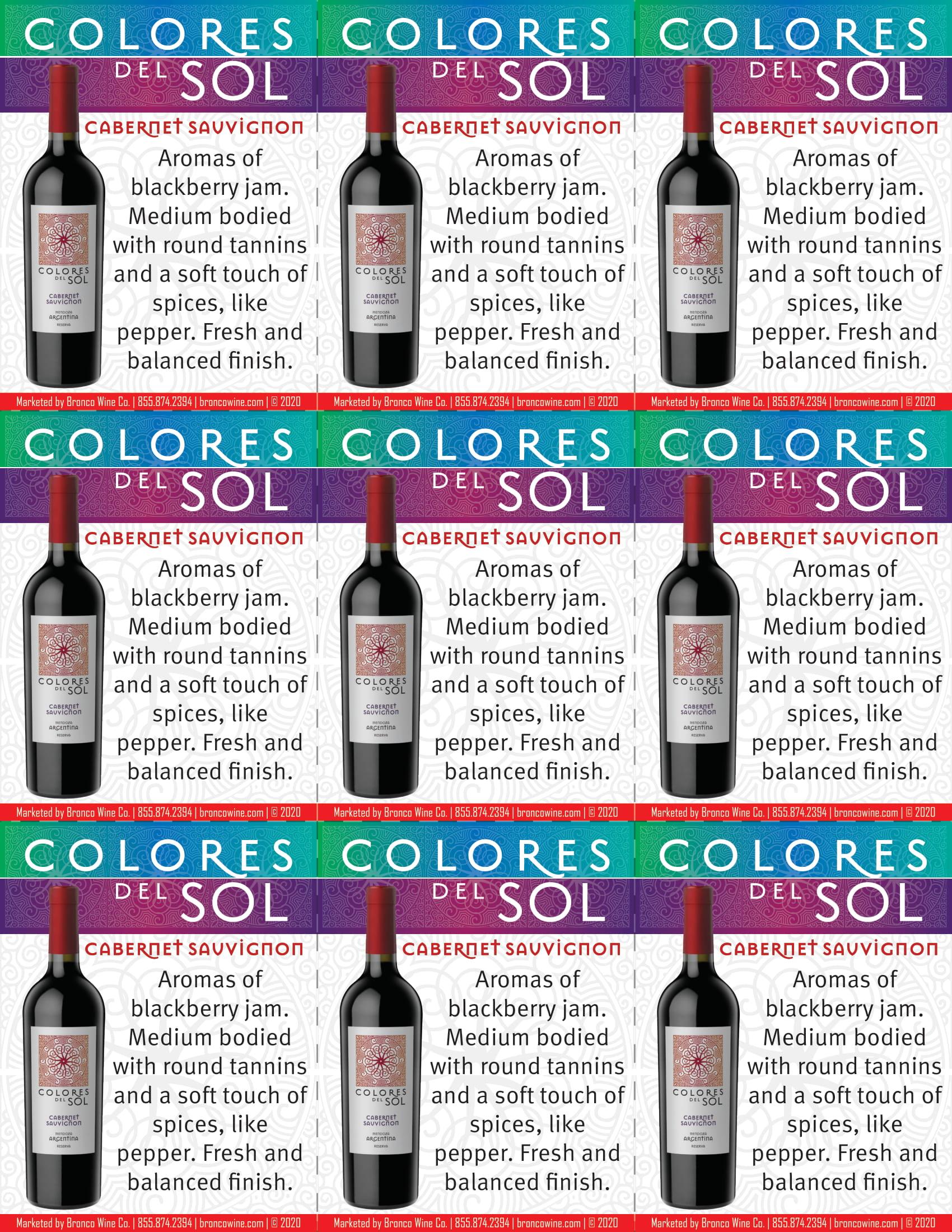 Colores Del Sol Cabernet Sauvignon Shelf Talkers