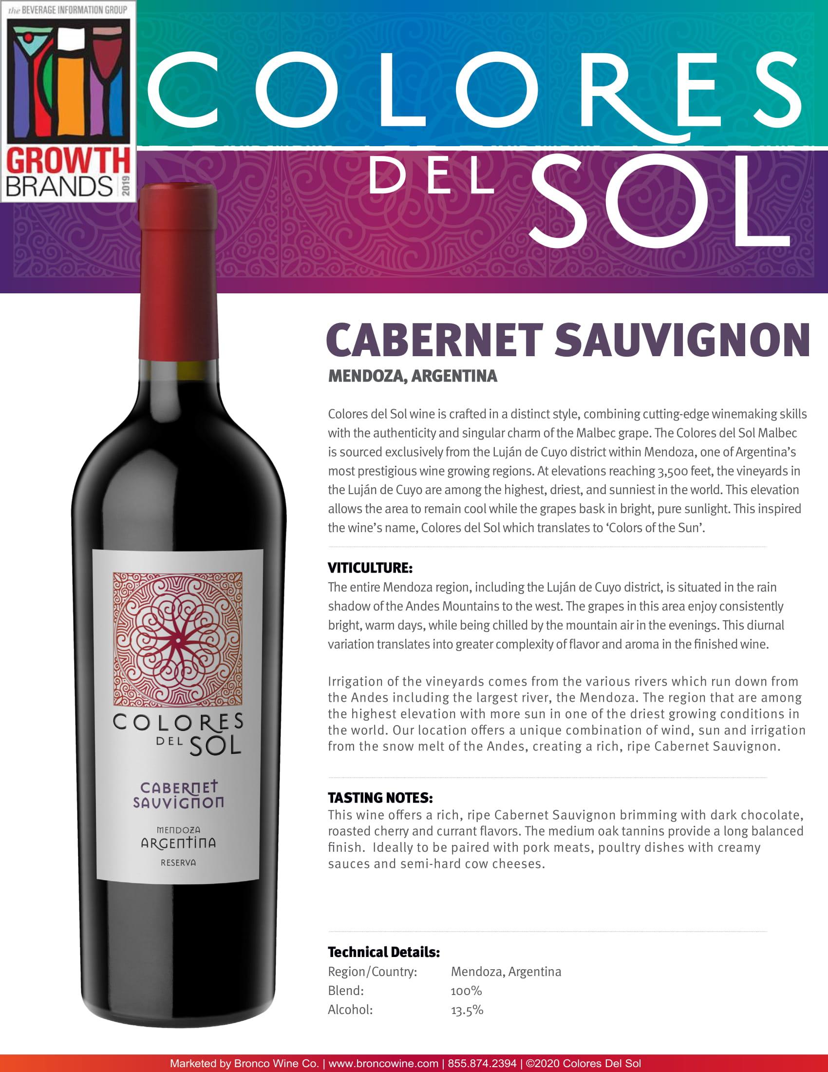 Colores Del Sol Cabernet Sauvignon Tech Sheet