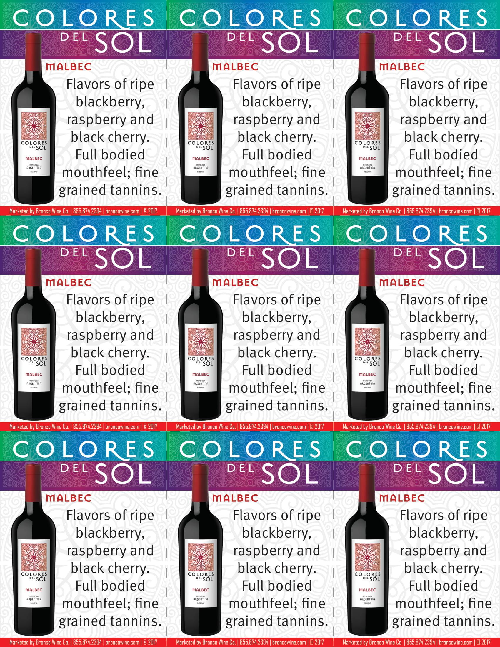 Colores Del Sol Malbec Shelf Talkers