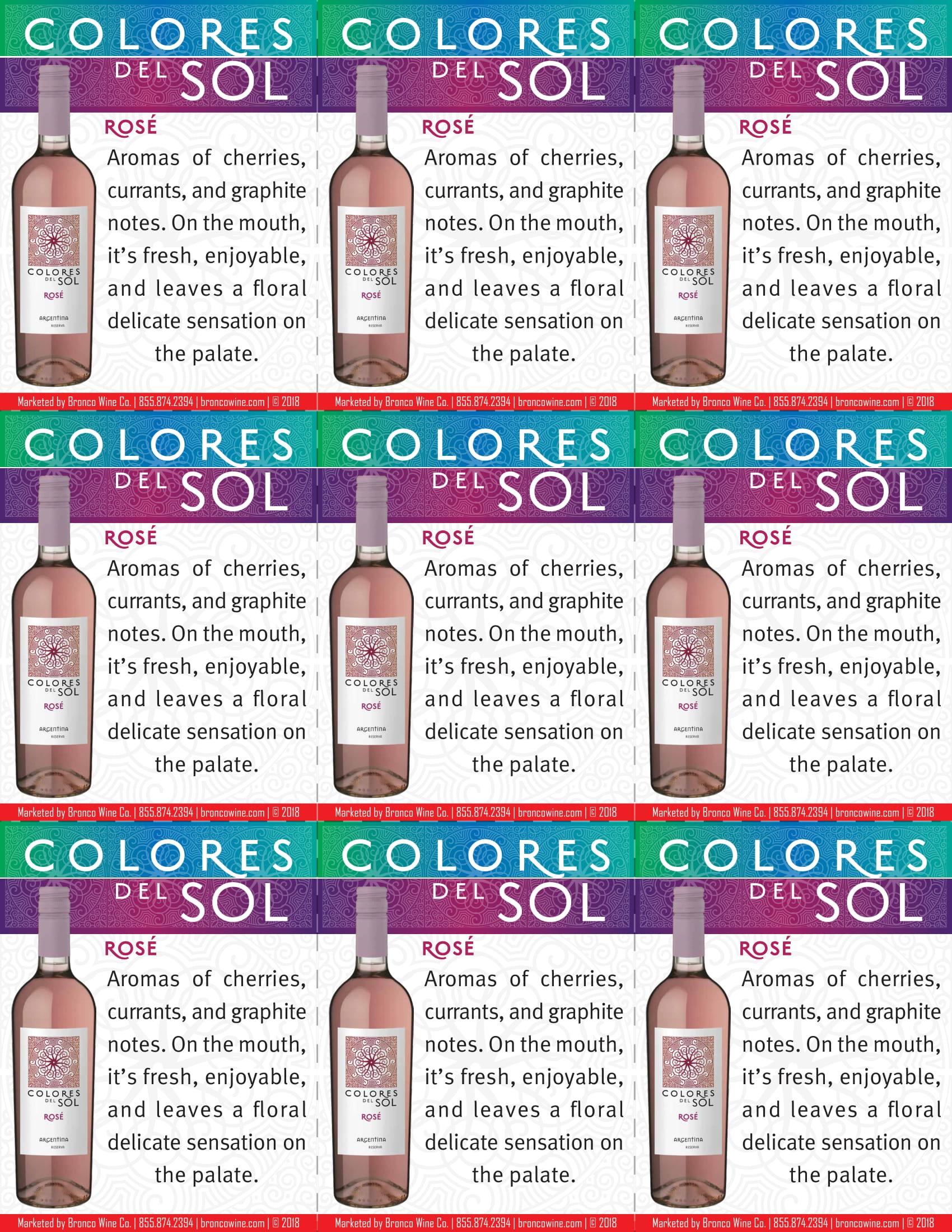 Colores Del Sol Rosé Shelf Talkers