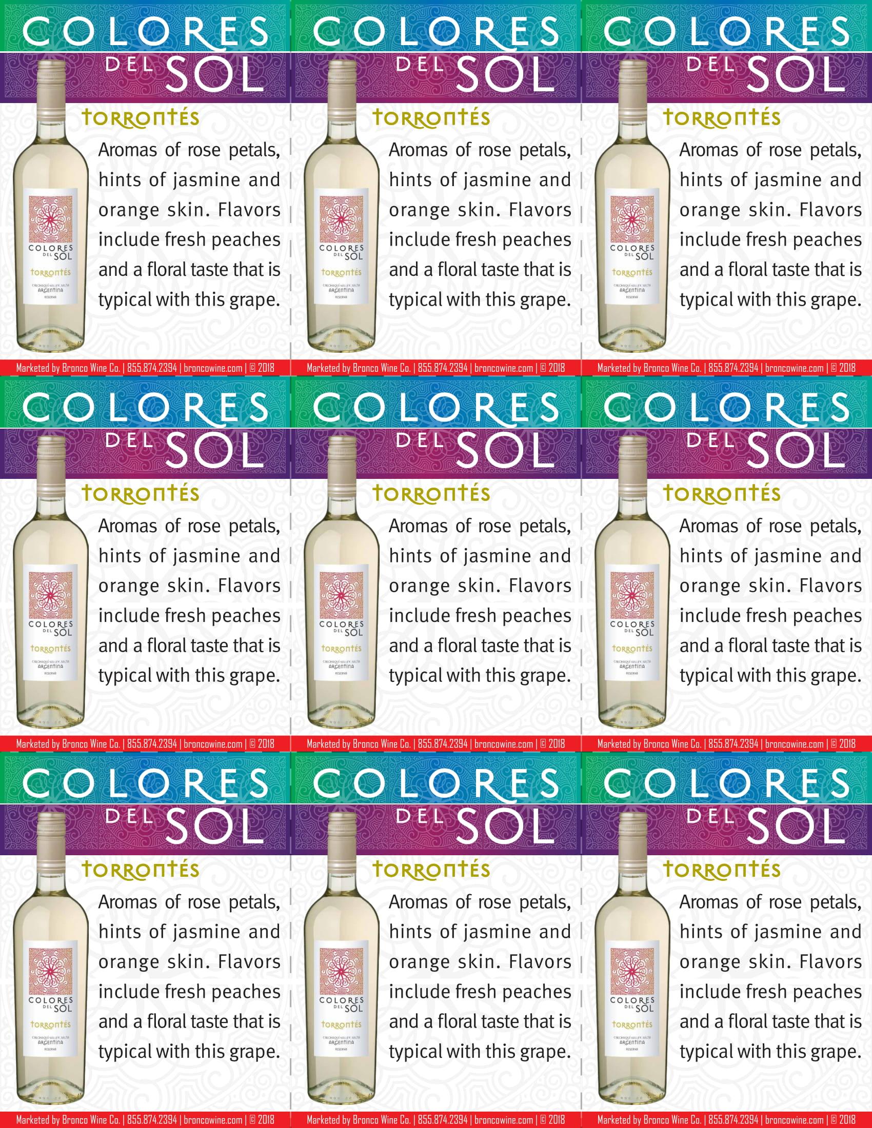 Colores Del Sol Torrontés Shelf Talkers