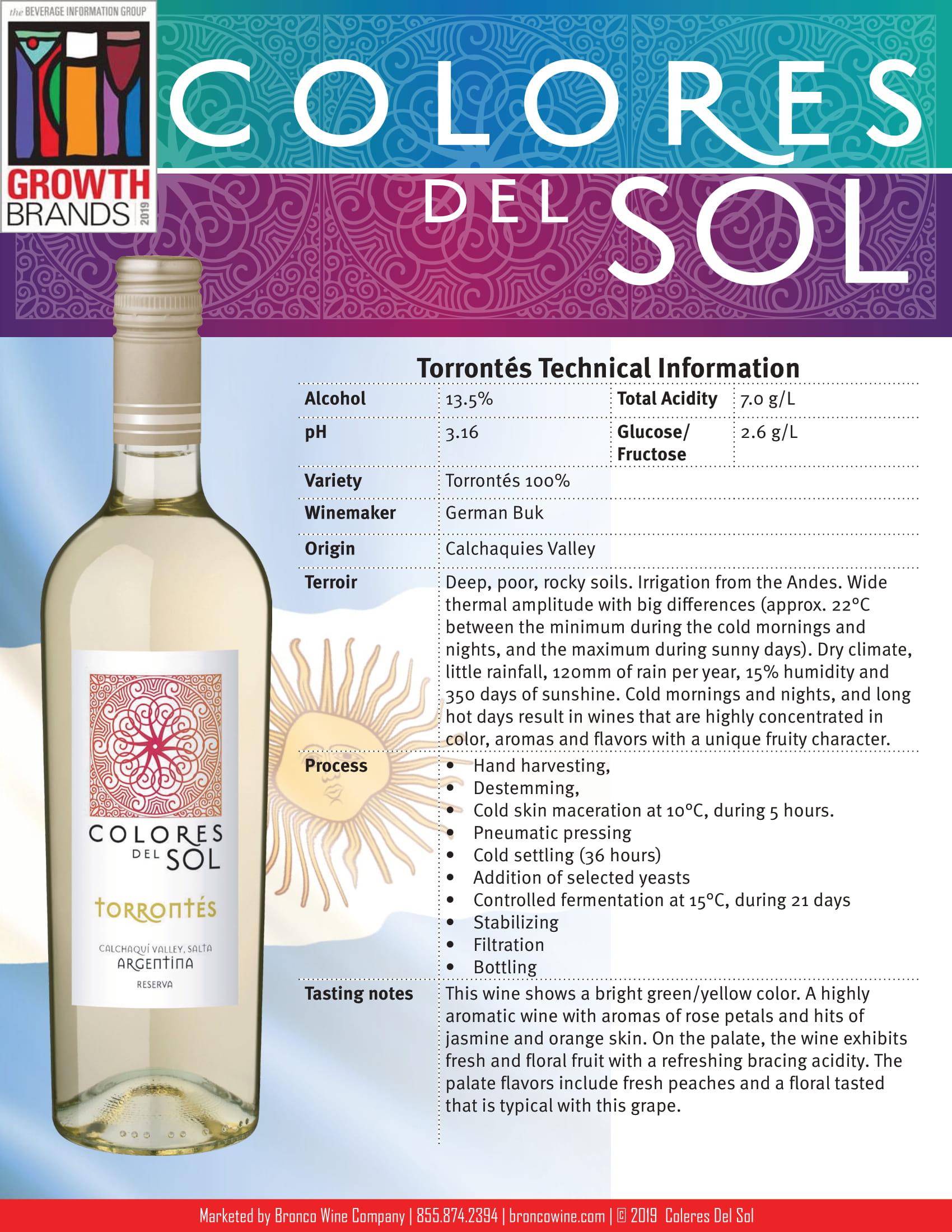 Colores Del Sol Torrontés Tech Sheet