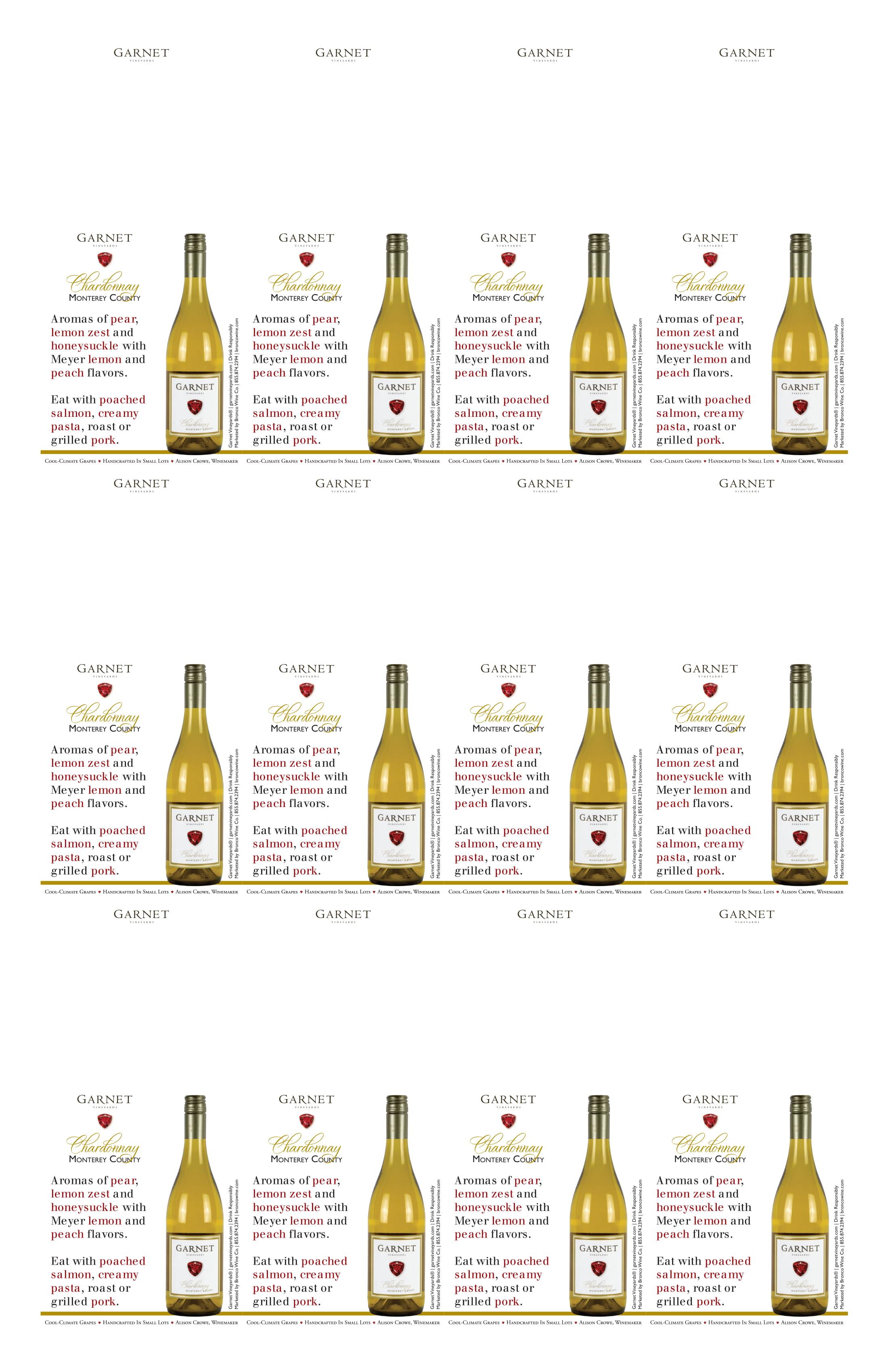 Garnet Vineyards Monterey County Chardonnay Neckers