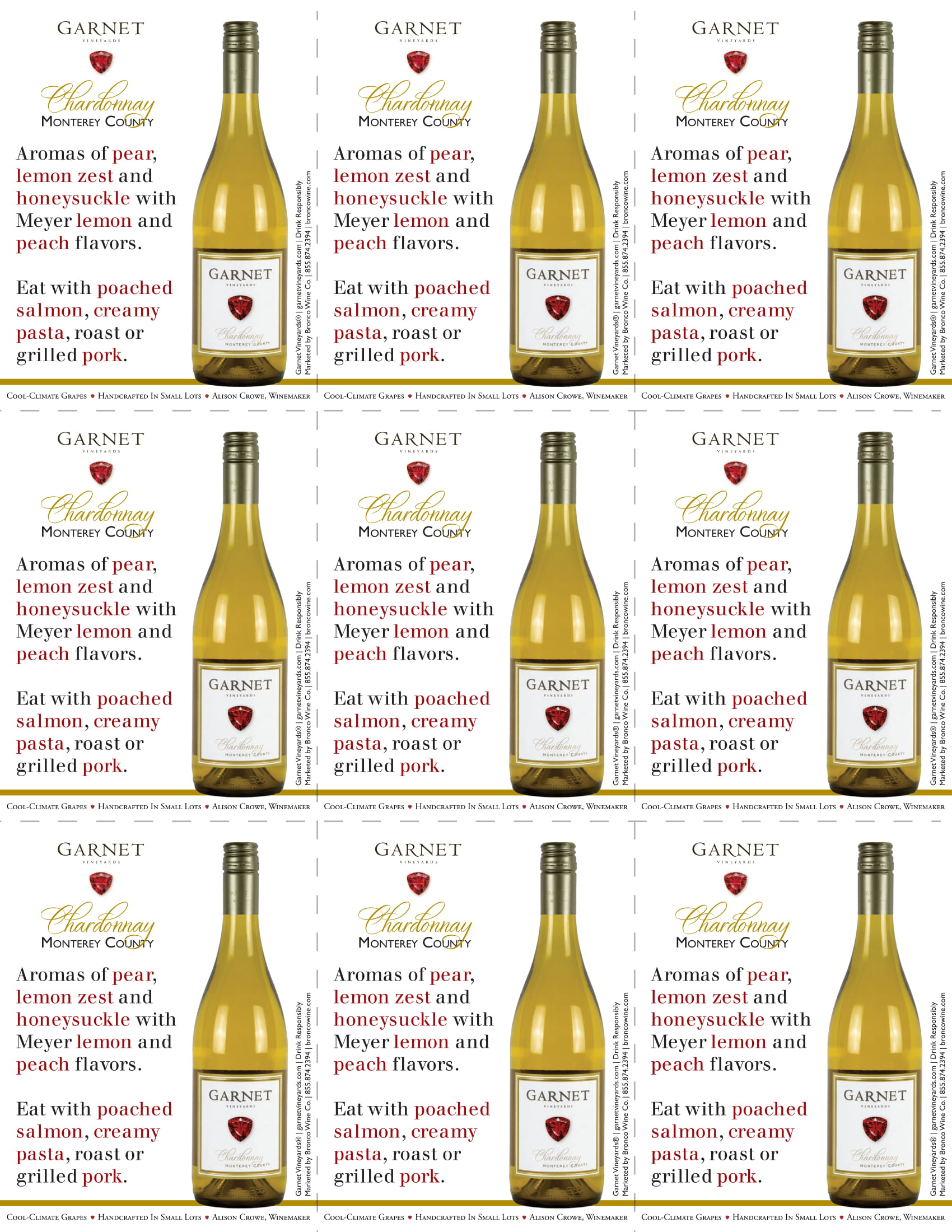 Garnet Vineyards Monterey County Chardonnay Shelf Talkers