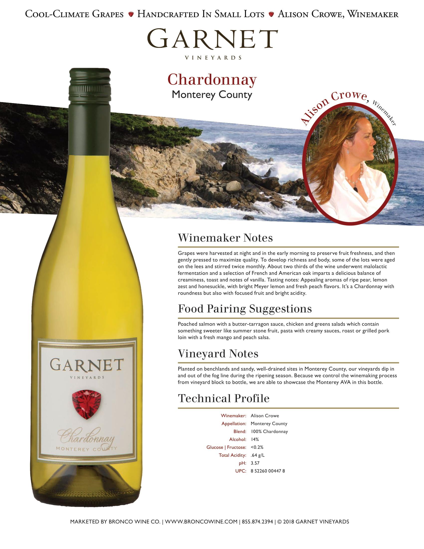 Garnet Vineyards Monterey County Chardonnay Tech Sheet