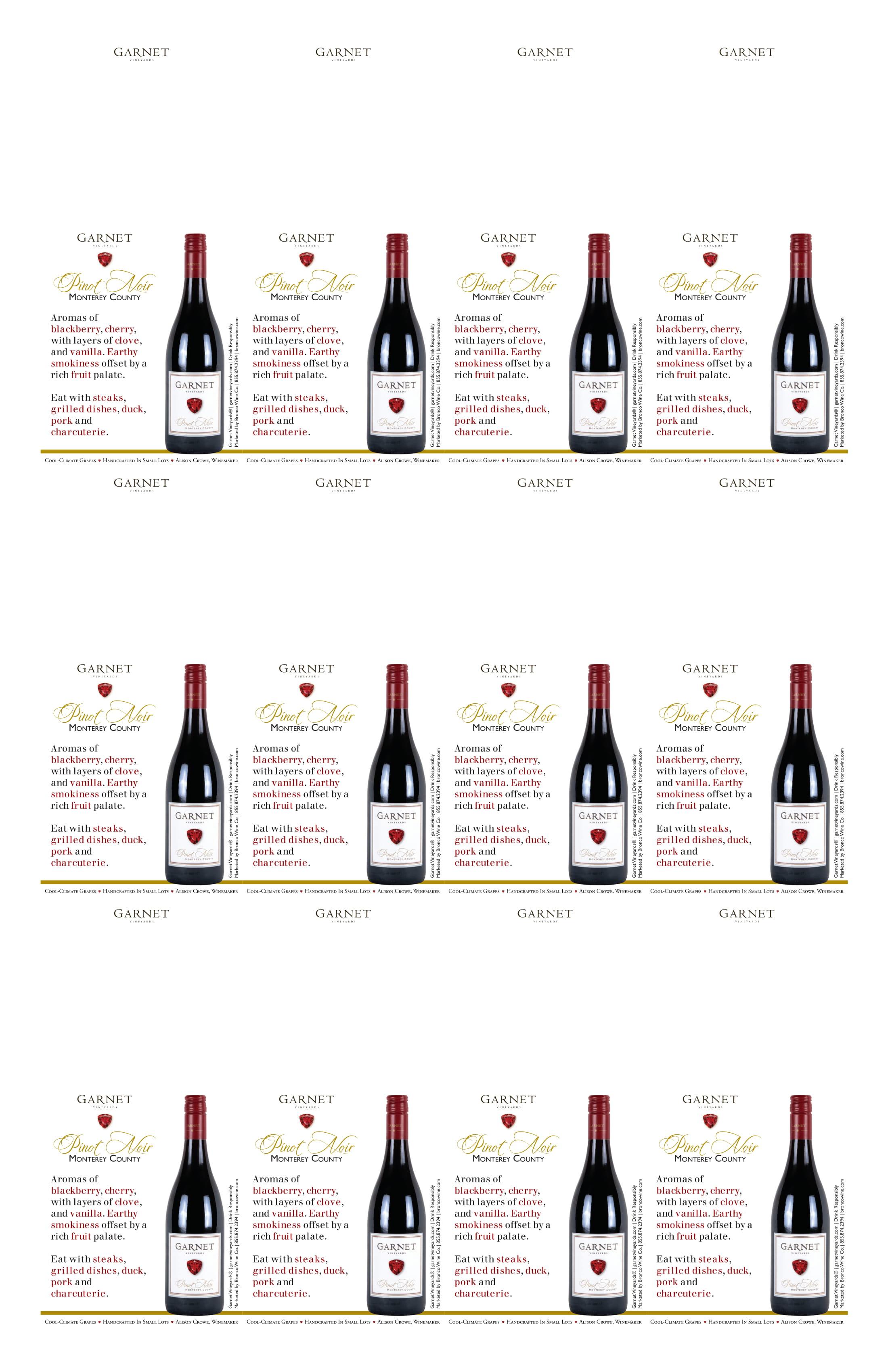 Garnet Vineyards Monterey County Pinot Noir Neckers