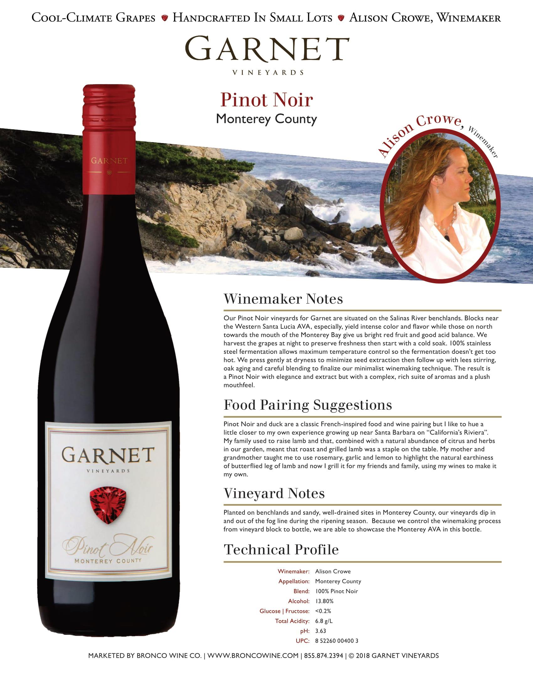 Garnet Vineyards Monterey County Pinot Noir Tech Sheet