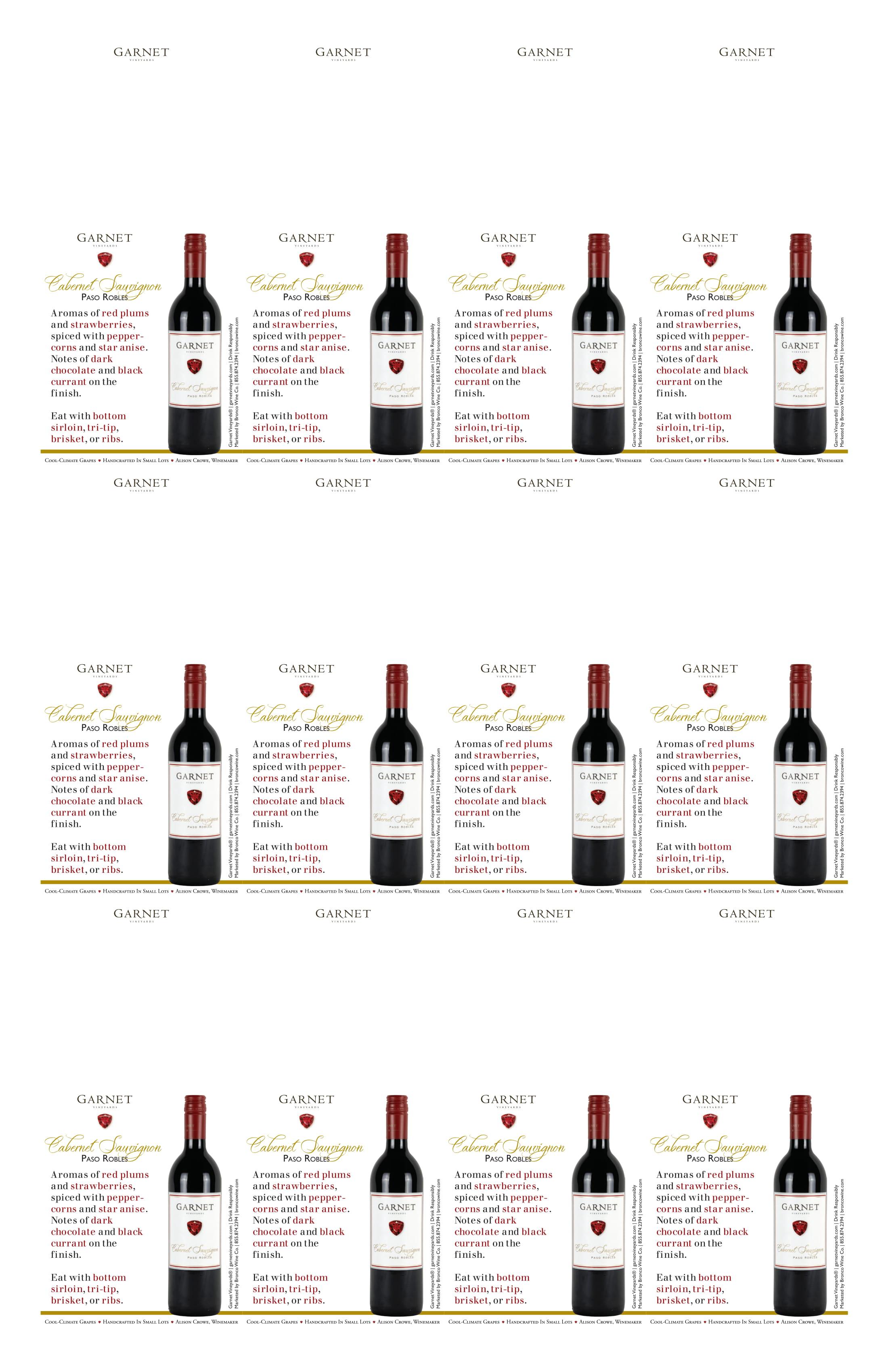 Garnet Vineyards Paso Robles Cabernet Sauvignon Neckers