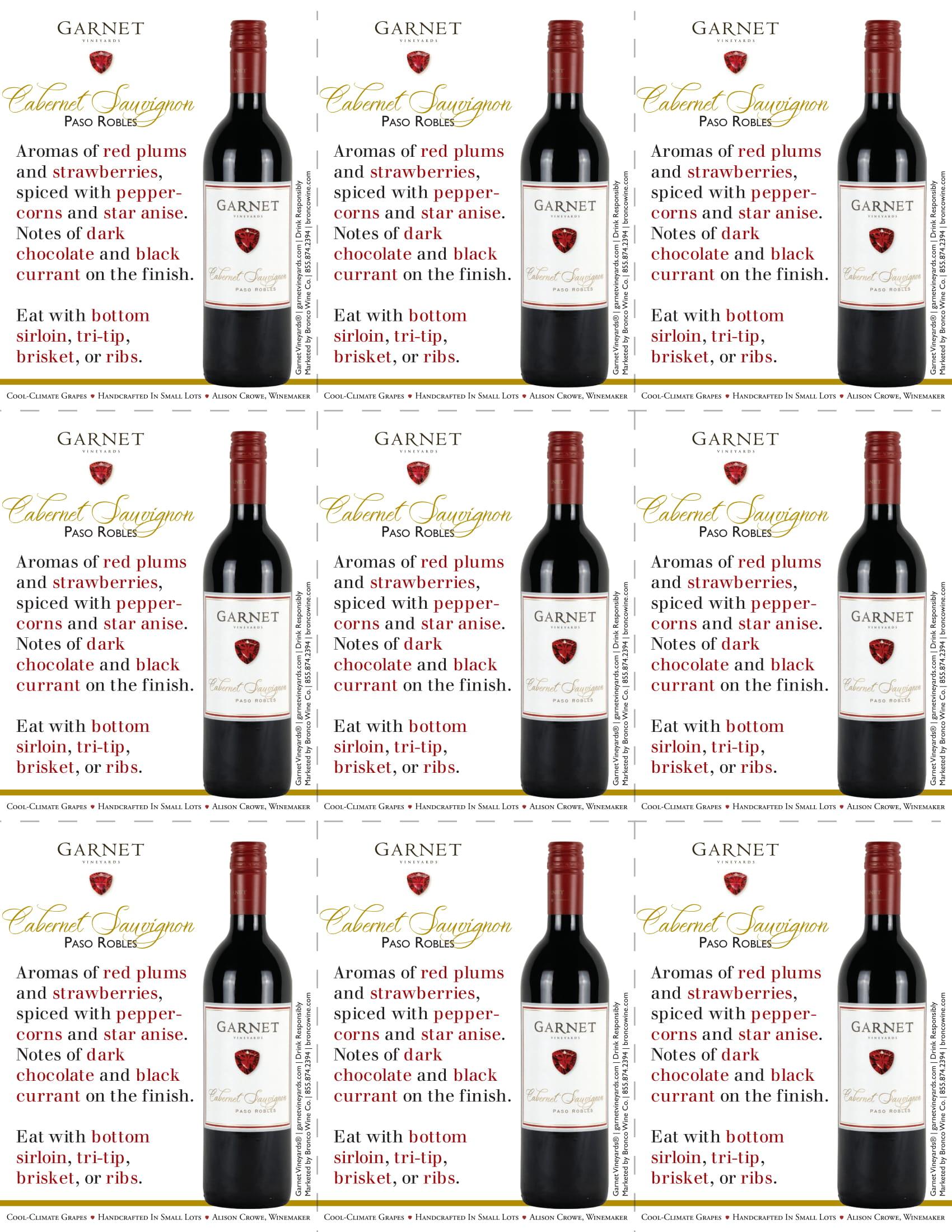 Garnet Vineyards Paso Robles Cabernet Sauvignon Shelf Talkers