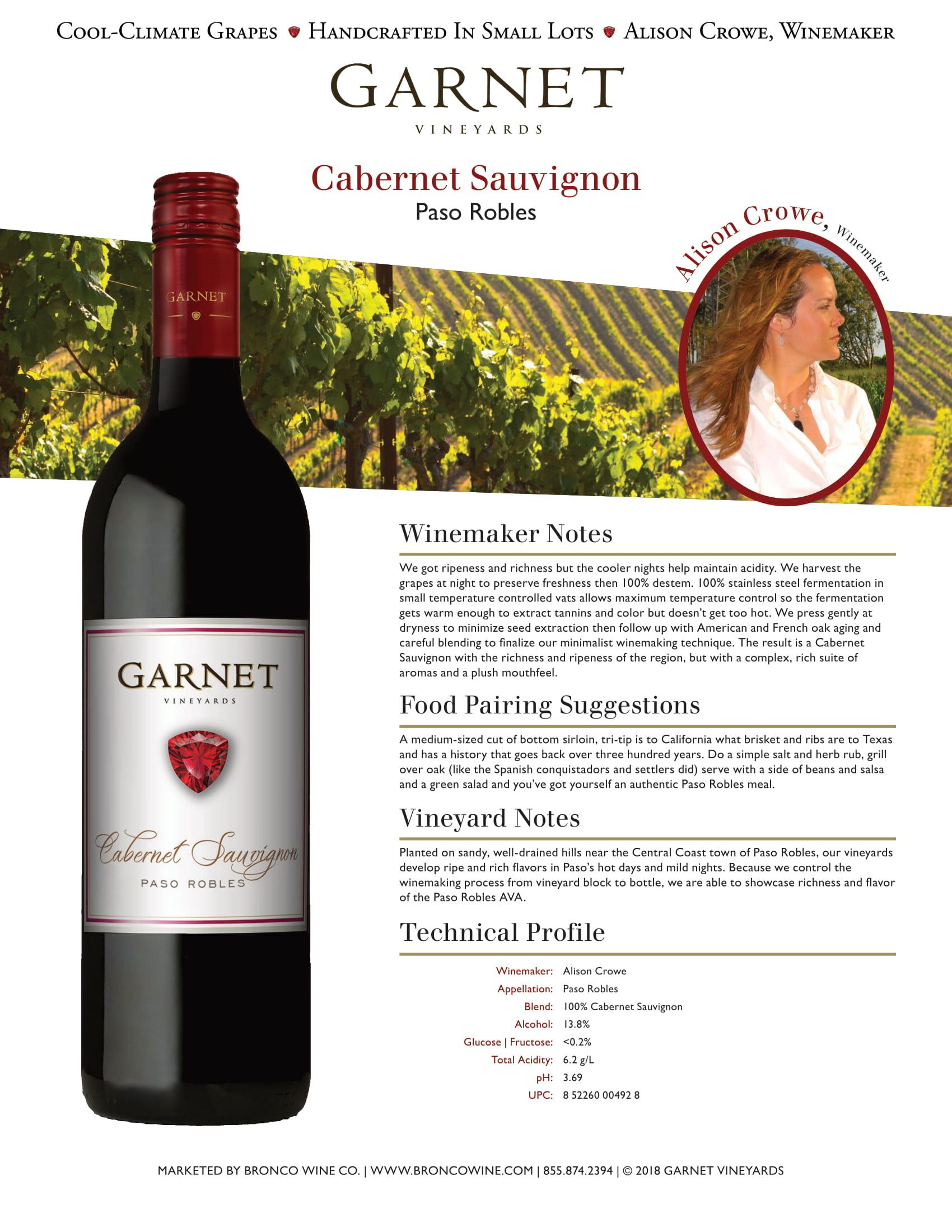Garnet Vineyards Paso Robles Cabernet Sauvignon Tech Sheet