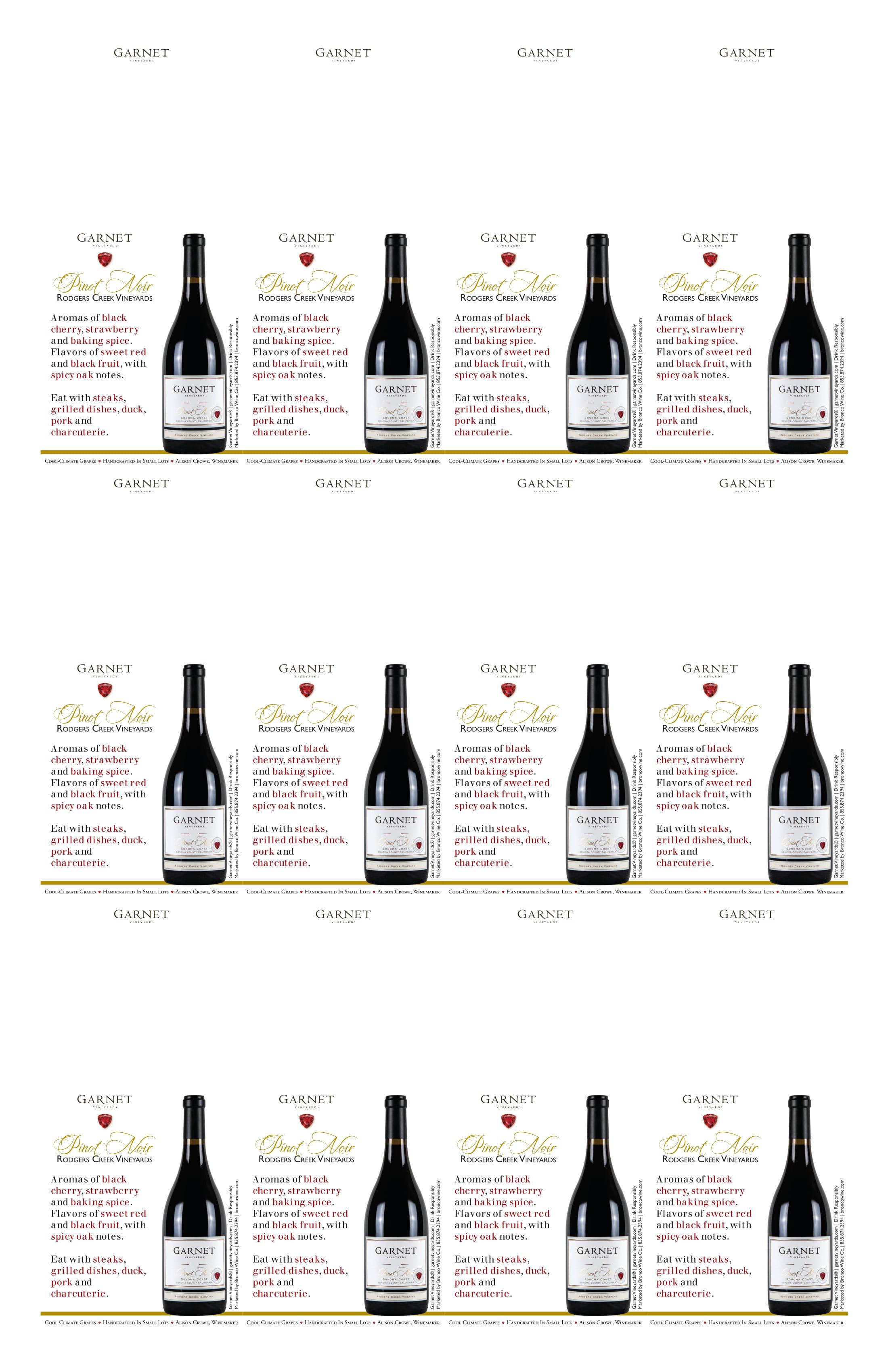 Garnet Vineyards Rodger's Creek Pinot Noir Neckers