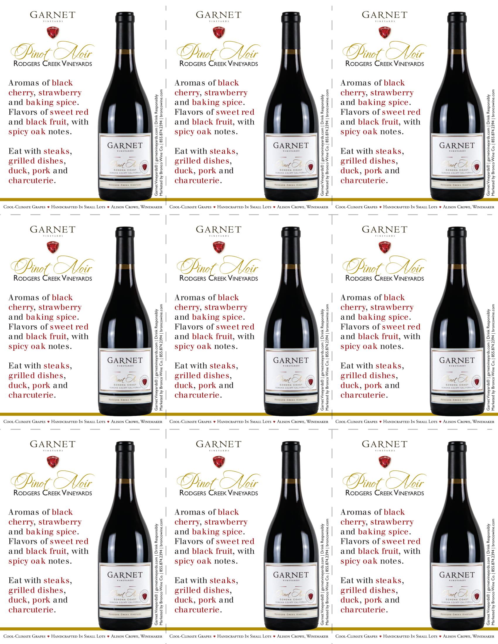 Garnet Vineyards Rodger's Creek Pinot Noir Shelf Talkers
