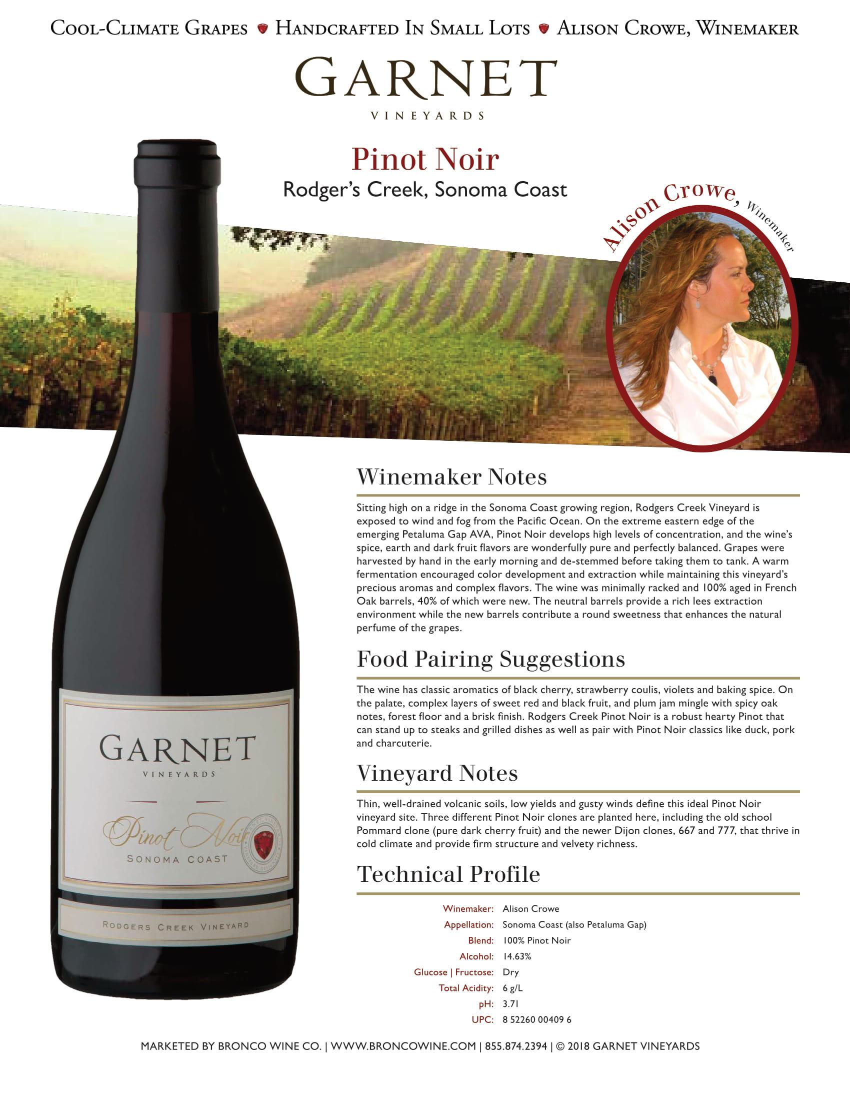 Garnet Vineyards Rodger's Creek Pinot Noir Tech Sheet