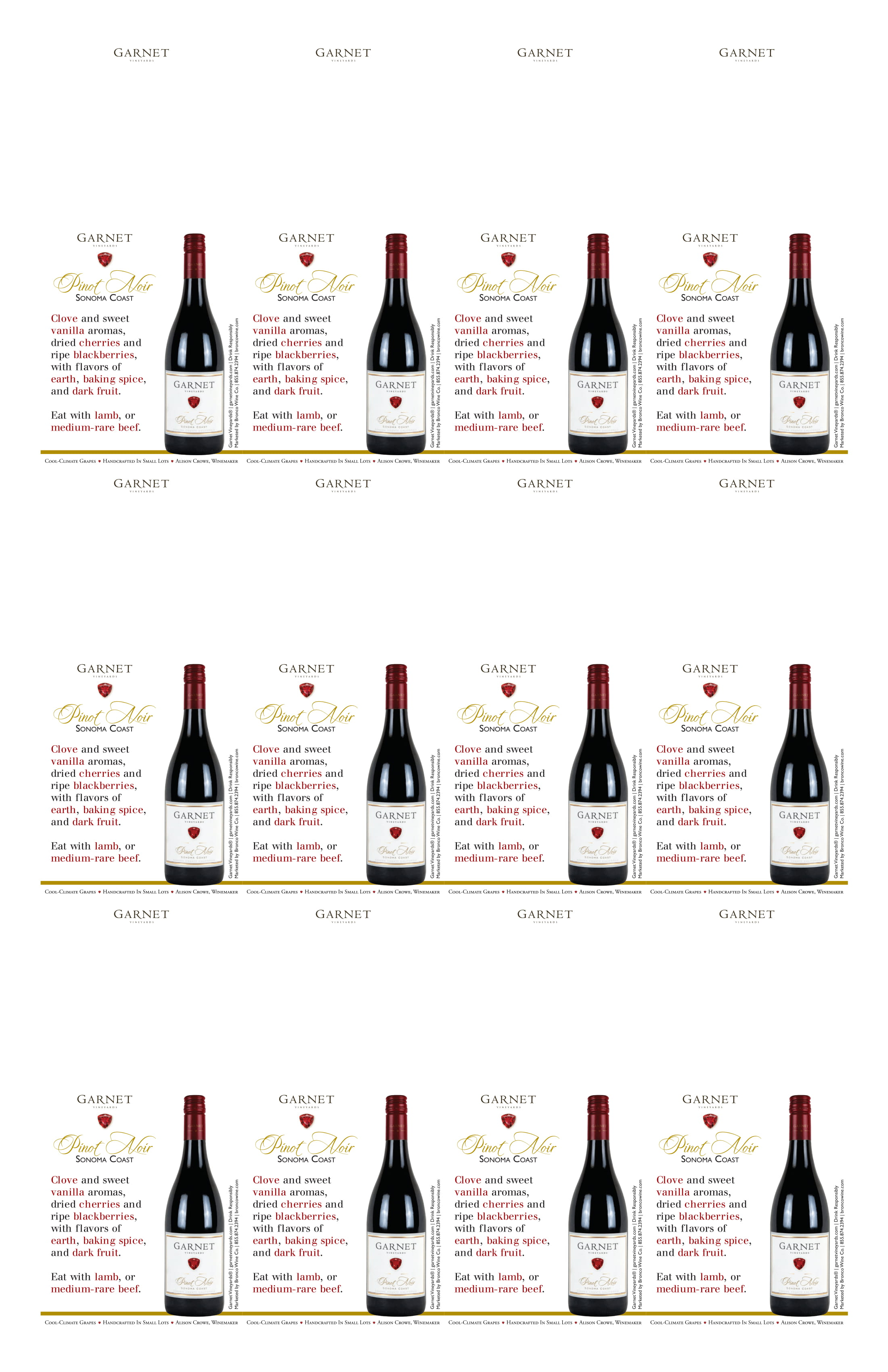 Garnet Vineyards Sonoma Coast Pinot Noir Neckers