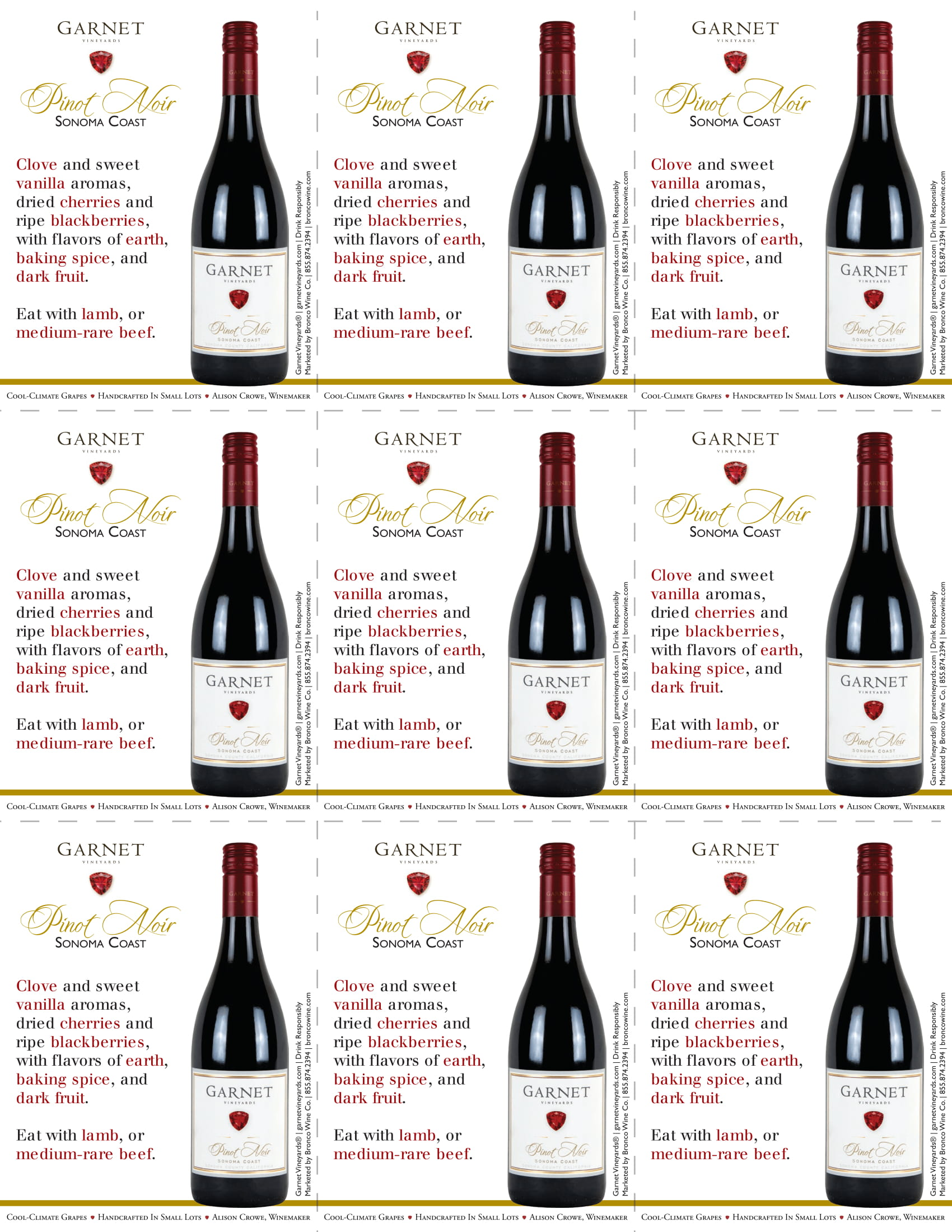 Garnet Vineyards Sonoma Coast Pinot Noir Shelf Talkers