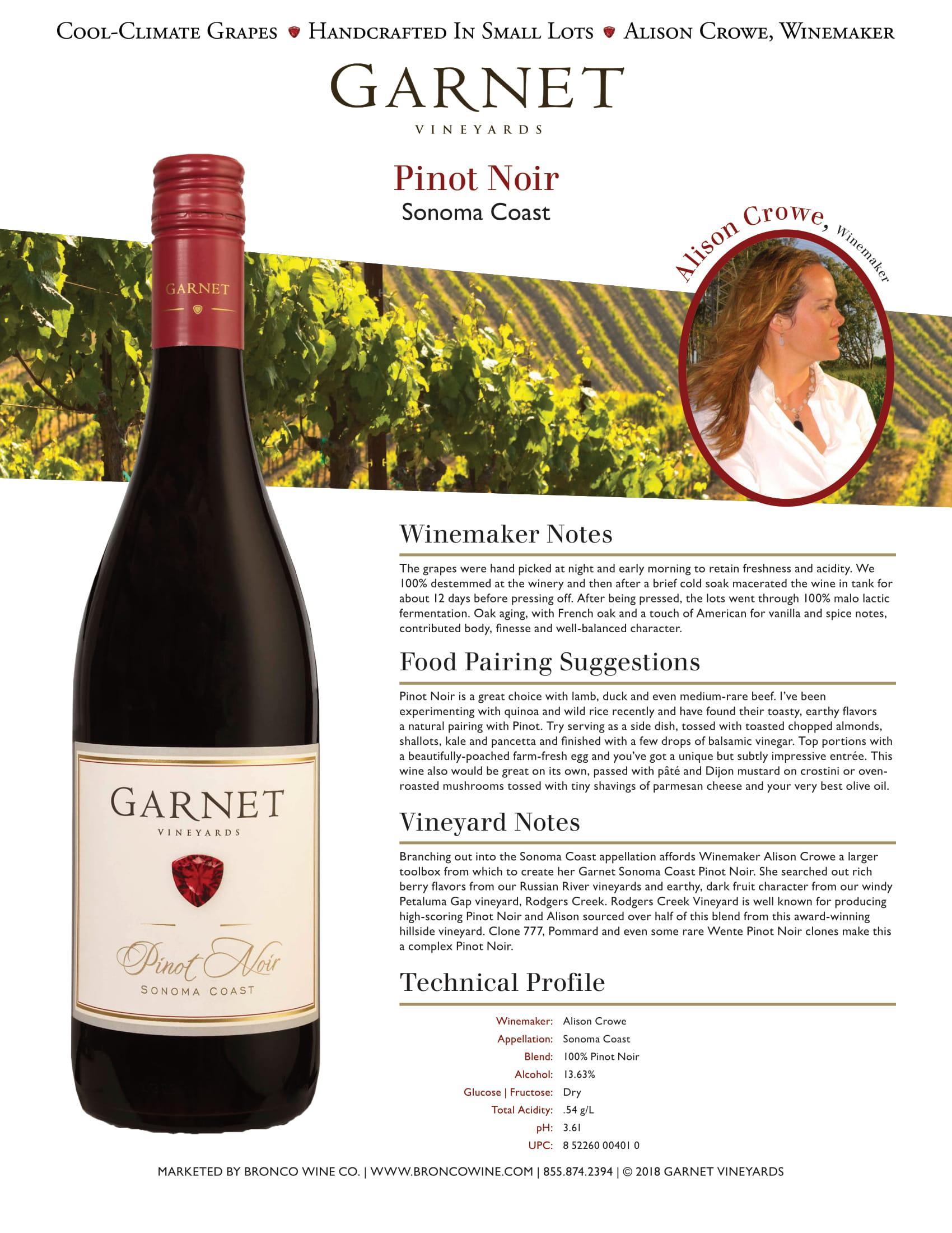 Garnet Vineyards Sonoma Coast Pinot Noir Tech Sheet