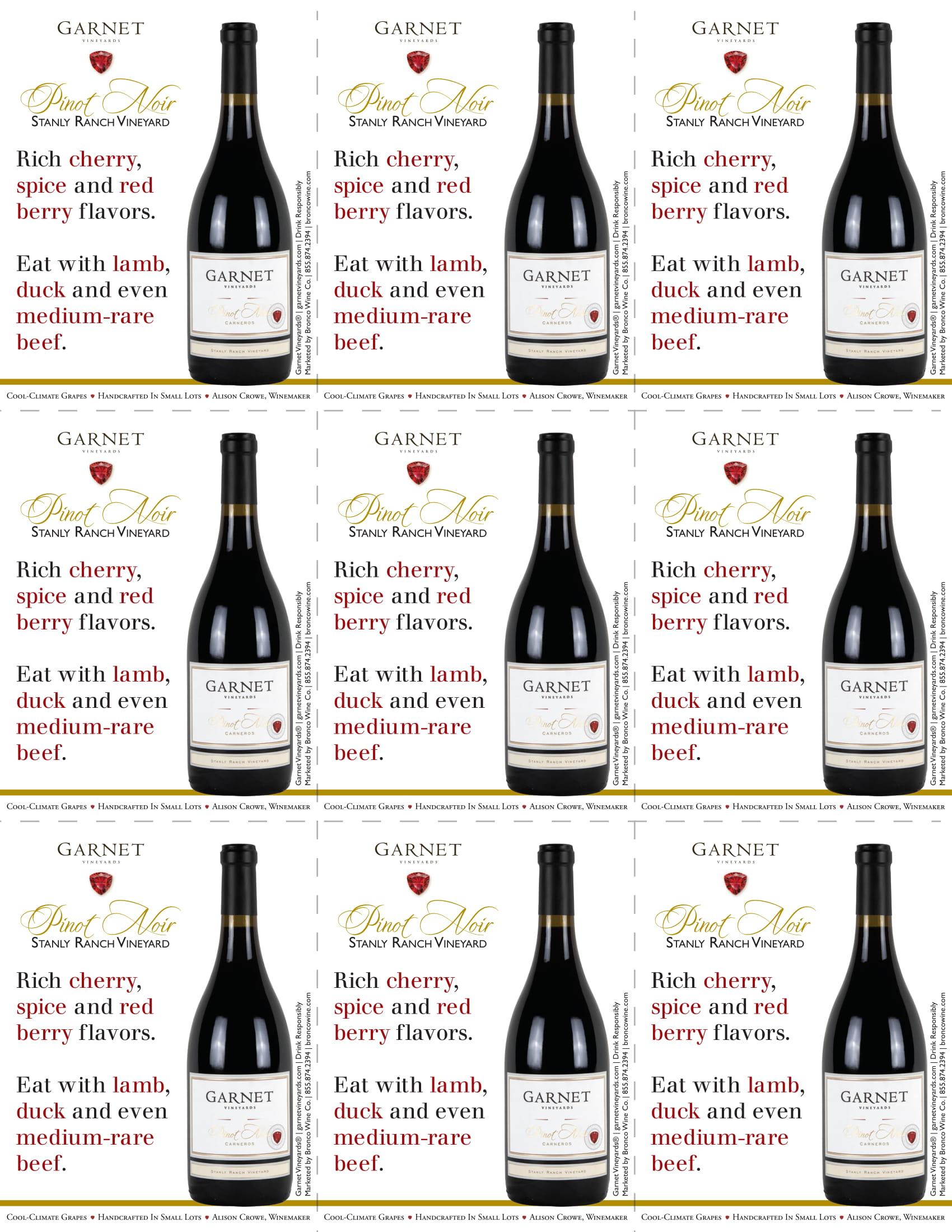 Garnet Vineyards Stanly Ranch Pinot Noir Shelf Talkers