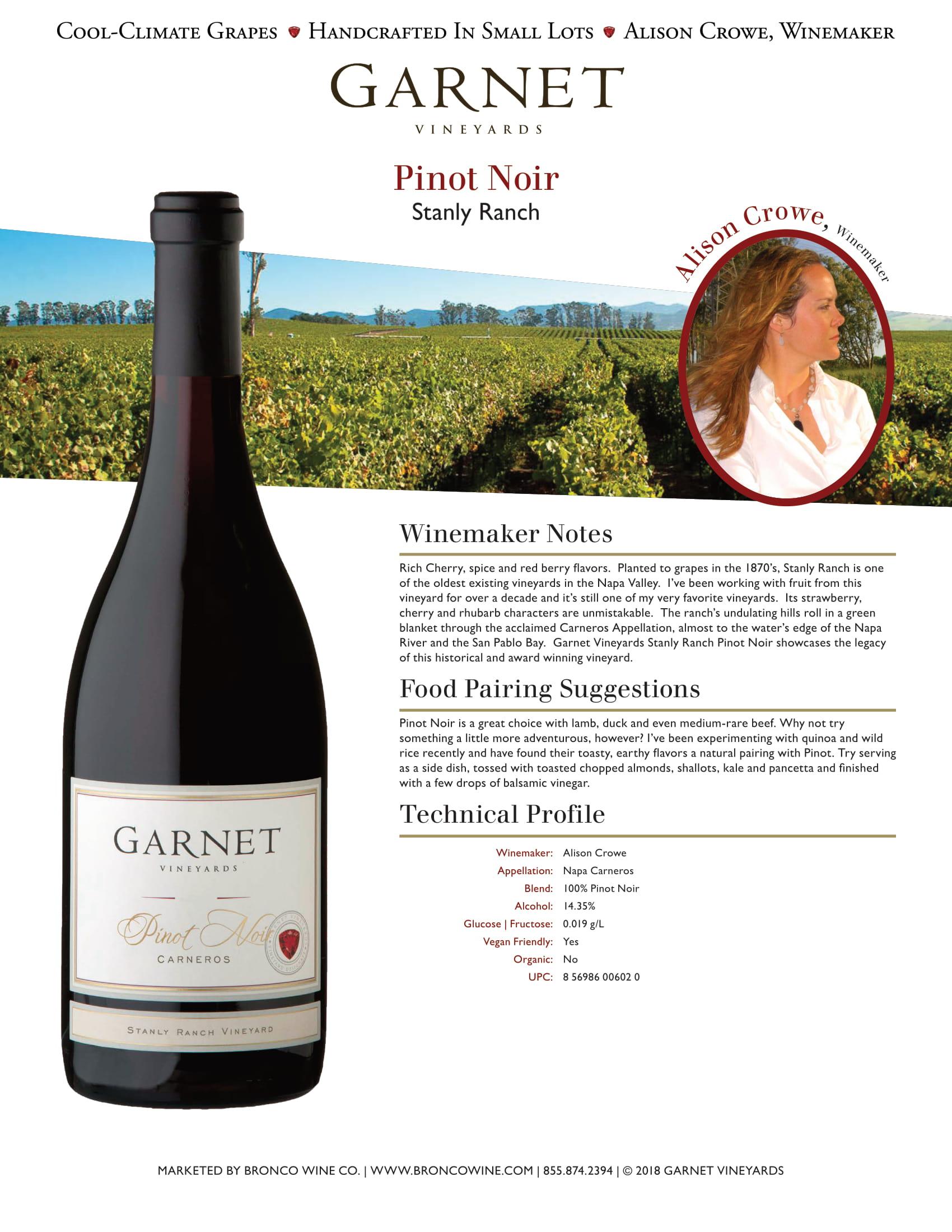 Garnet Vineyards Stanly Ranch Pinot Noir Tech Sheet