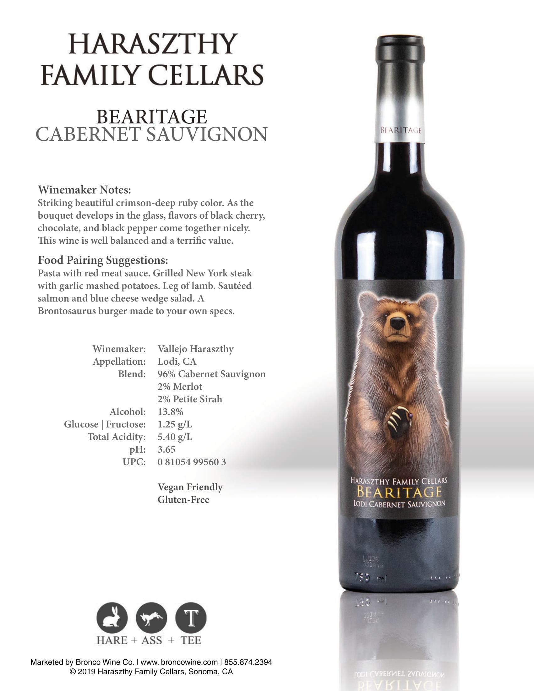 Haraszthy Bearitage Cabernet Sauvignon Tech Sheet