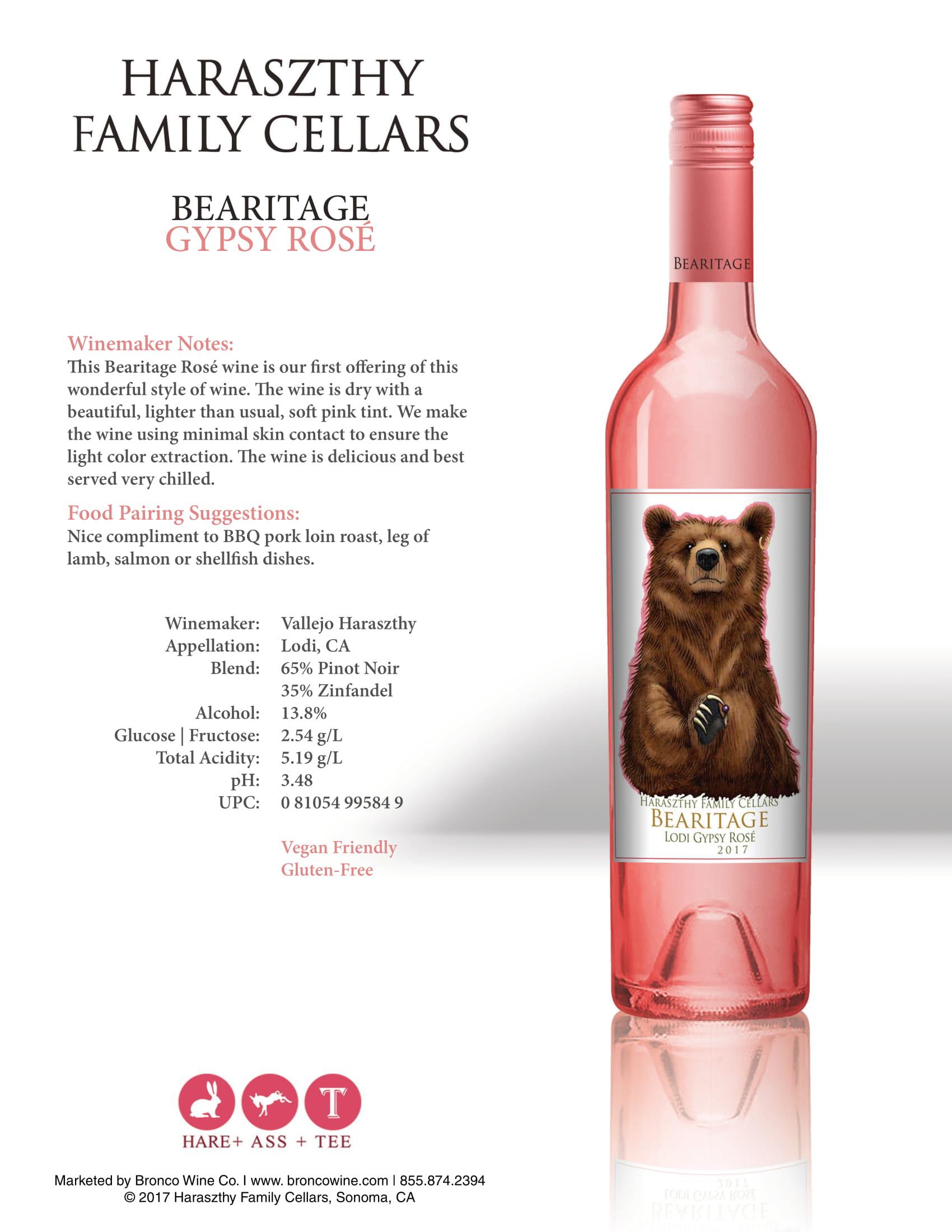 Haraszthy Bearitage Gypsy Rose Tech Sheet