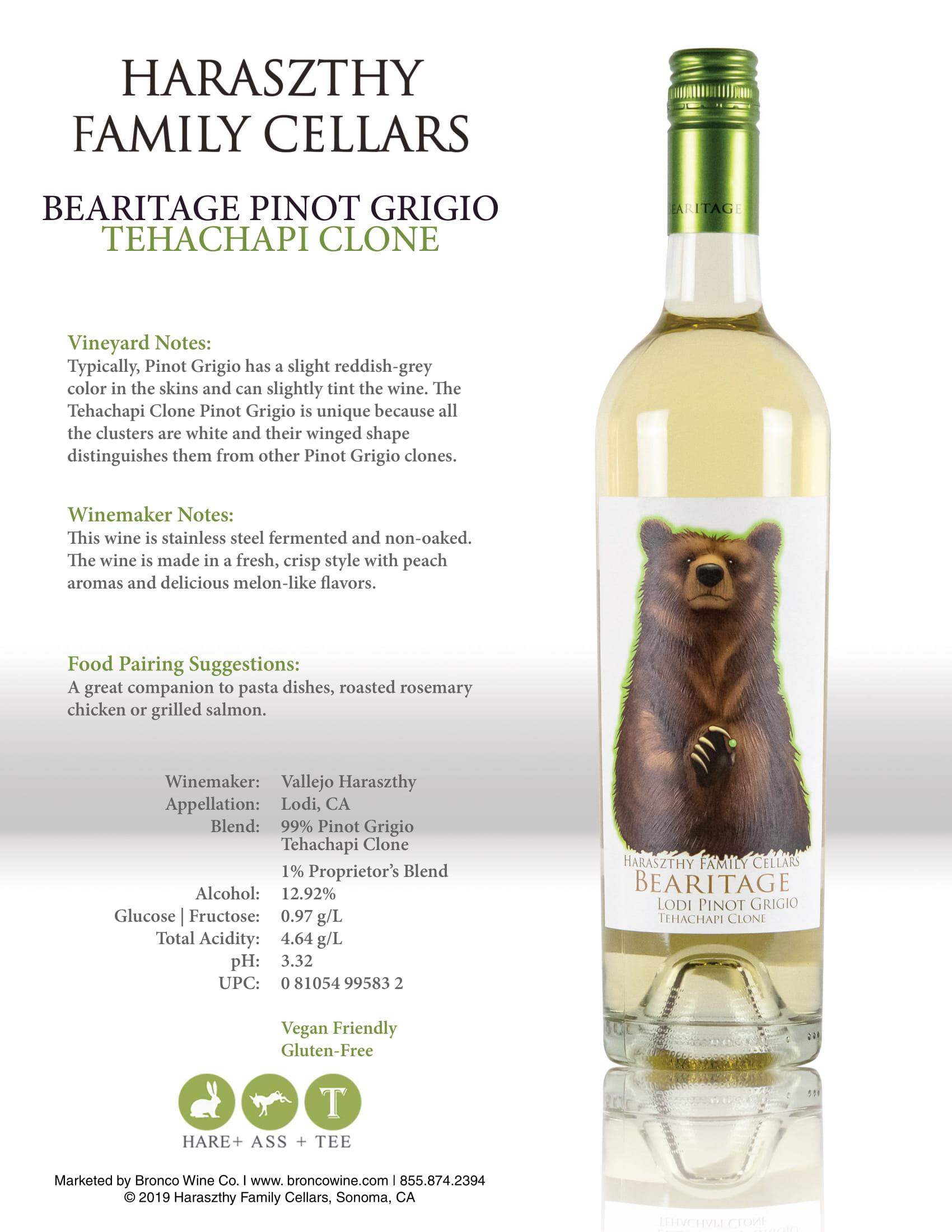 Haraszthy Bearitage Pinot Grigio Tech Sheet