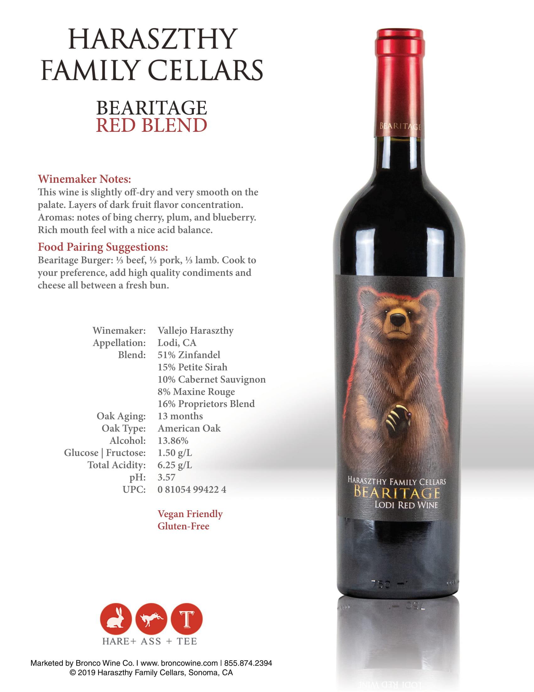Haraszthy Bearitage Red Wine Tech Sheet