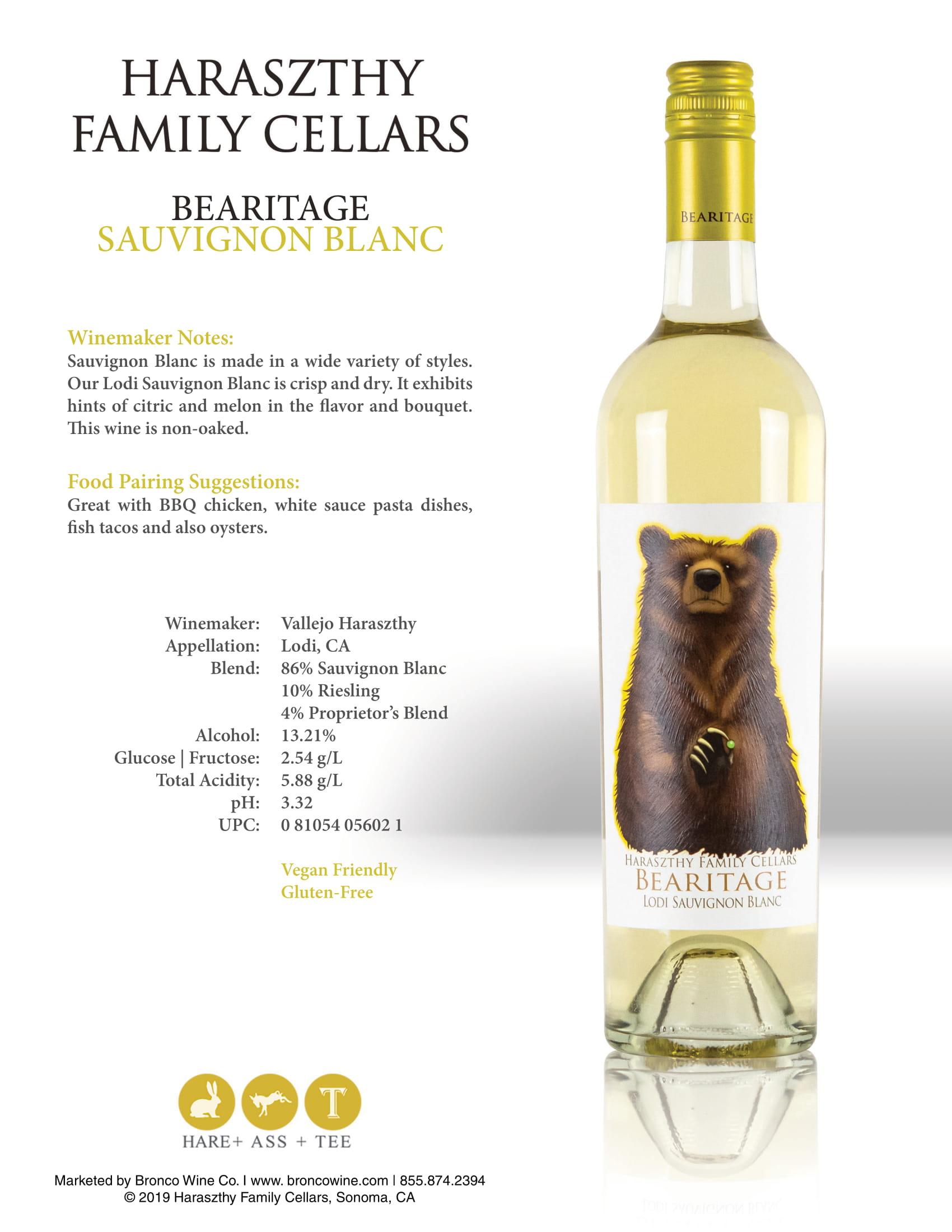 Haraszthy Bearitage Sauvignon Blanc Tech Sheet