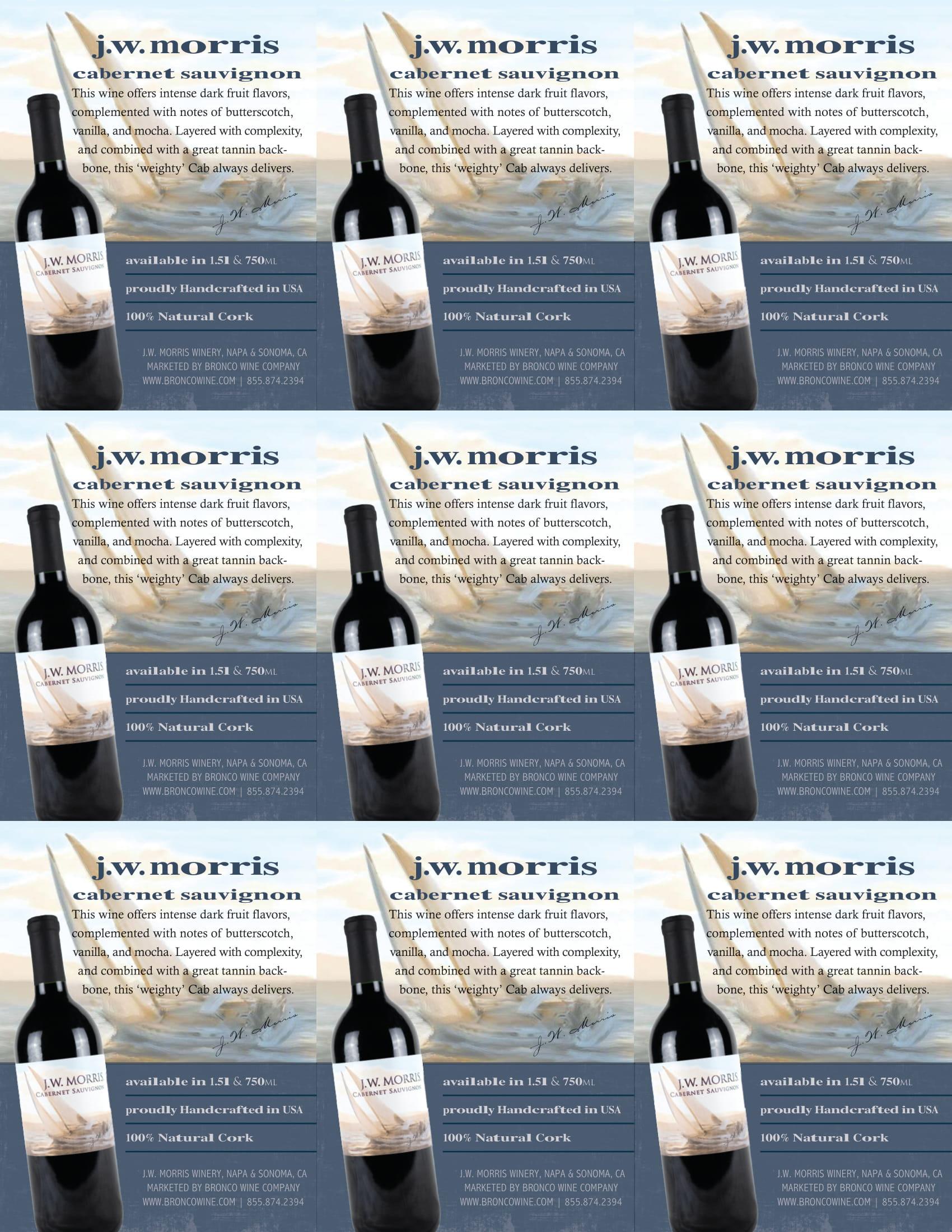 JW Morris Cabernet Sauvignon Shelf Talkers