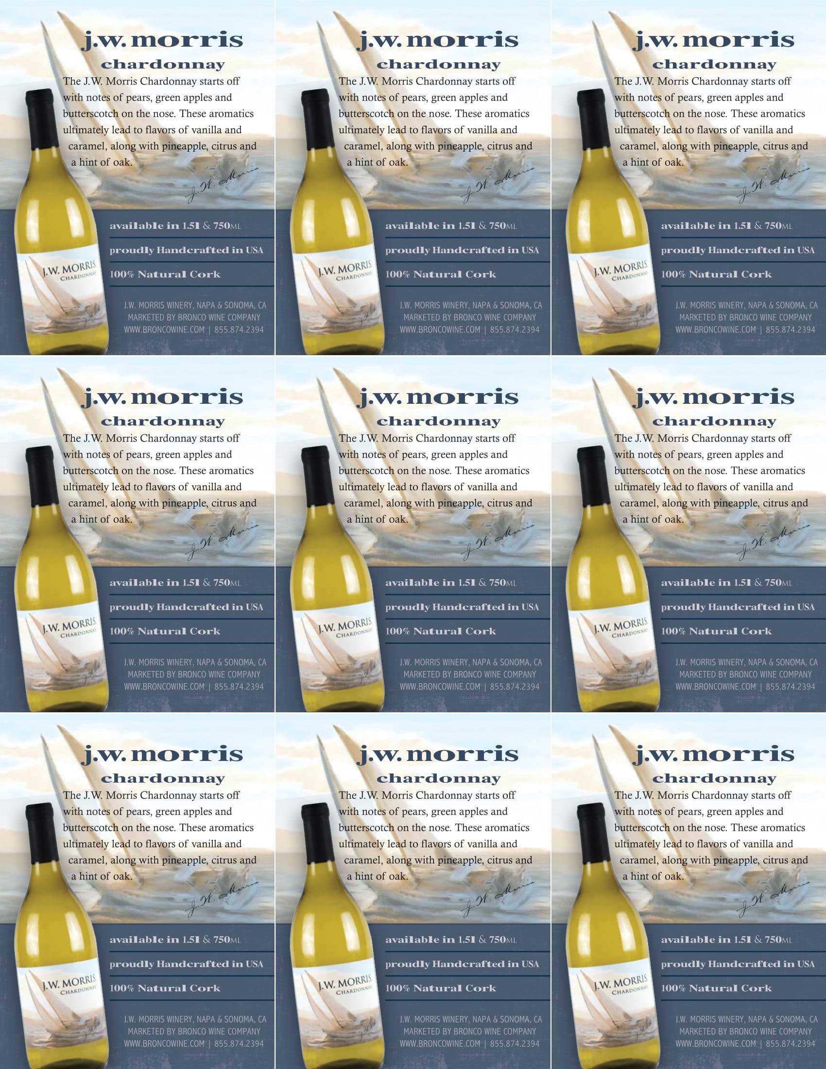 JW Morris Chardonnay Shelf Talkers